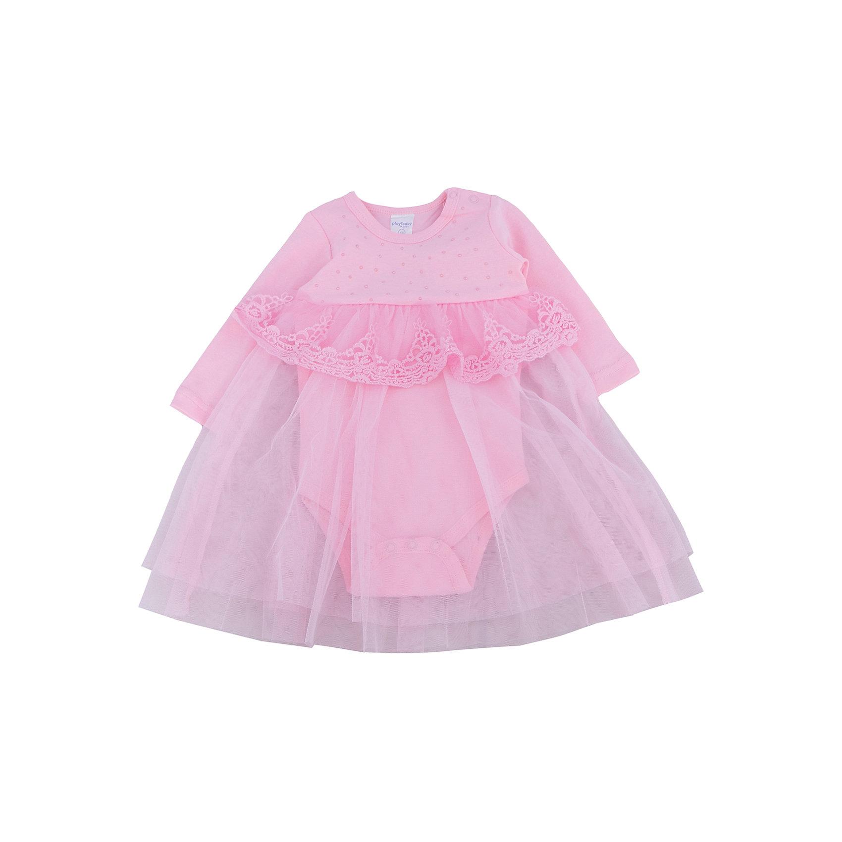 Нарядное боди-платье для девочки PlayTodayПлатья<br>Характеристики:<br><br>• Вид одежды: платье-боди<br>• Предназначение: праздничное платье<br>• Сезон: круглый год<br>• Материал: боди – 100% хлопок, юбка – 100% полиэстер<br>• Цвет: розовый<br>• Силуэт: расклешенная юбка<br>• Длина платья: миди<br>• Рукав: длинный<br>• Вырез горловины: круглый<br>• Застежка: кнопки на плече и снизу<br>• Особенности ухода: ручная стирка без применения отбеливающих средств, глажение при низкой температуре <br><br>PlayToday – это линейка детской одежды, которая предназначена как для повседневности, так и для праздников. Большинство моделей выполнены в классическом стиле, сочетающем в себе традиции с яркими стильными элементами и аксессуарами. Весь ассортимент одежды сочетается между собой по стилю и цветовому решению, поэтому Вам будет легко сформировать гардероб вашего ребенка, который отражает его индивидуальность. <br>Яркое платье для девочки PlayToday выполнено по типу боди с длинными рукавами. Нижняя часть состоит из 100% хлопка, юбка – из полиэстера розового цвета. У платья круглая горловина, длинный рукав. Юбка многослойная: нижняя более длинная и короткая из кружева, которым декорирована завышенная талия. Верхняя часть платья декорирована жемчужными стразами. Платье-боди легко надевать и снимать, на плече и снизу предусмотрены застежки-кнопки. Платье для девочки PlayToday – это стиль, качество и элегантность!<br><br>Платье для девочки PlayToday можно купить в нашем интернет-магазине.<br><br>Ширина мм: 236<br>Глубина мм: 16<br>Высота мм: 184<br>Вес г: 177<br>Цвет: розовый<br>Возраст от месяцев: 18<br>Возраст до месяцев: 24<br>Пол: Женский<br>Возраст: Детский<br>Размер: 92,86,74,62,68,80<br>SKU: 5059390