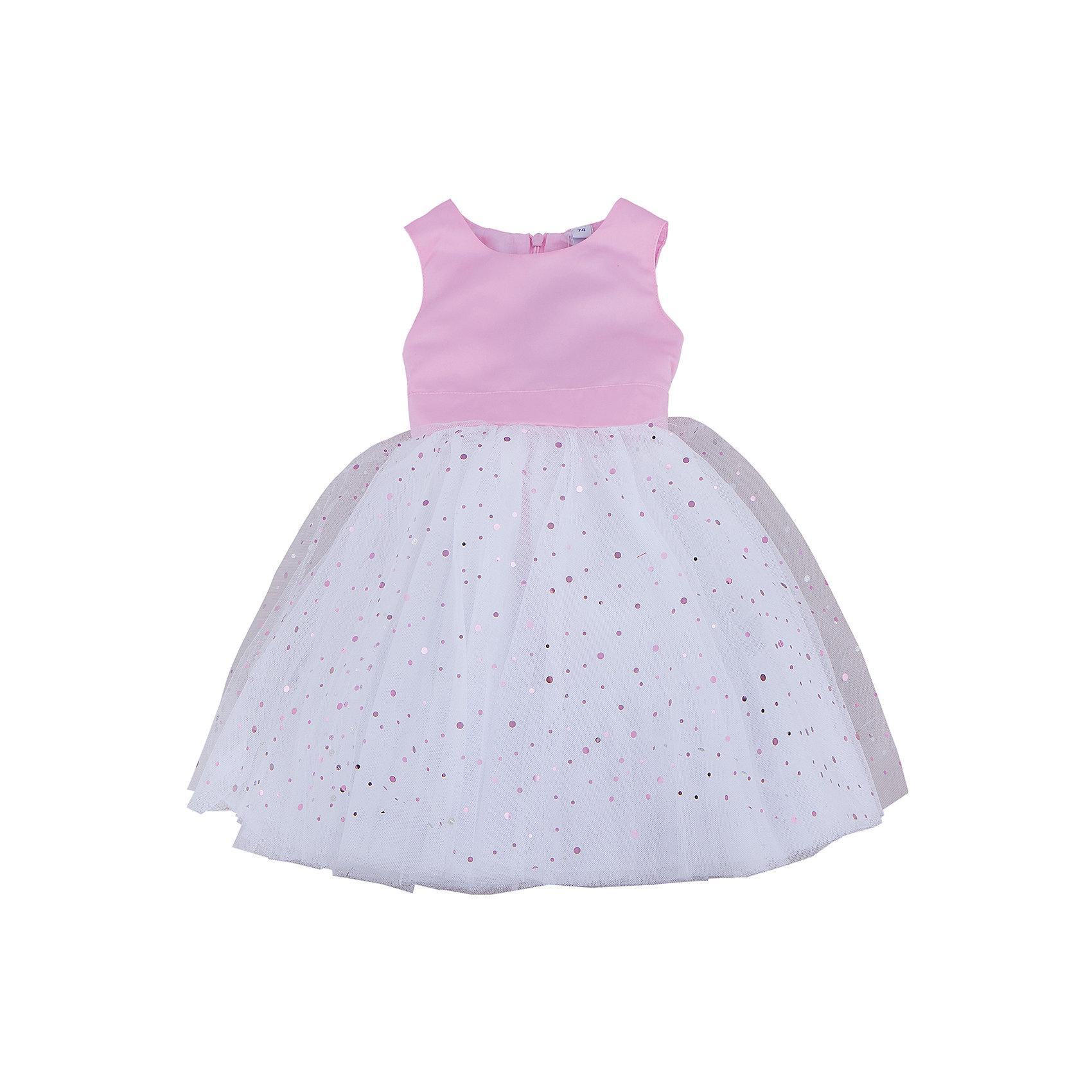 Нарядное платье для девочки PlayTodayПлатья<br>Характеристики:<br><br>• Вид одежды: платье<br>• Предназначение: праздничное платье<br>• Сезон: круглый год<br>• Материал: верх – 100% полиэстер, подкладка – 100% хлопок<br>• Цвет: розовый, белый<br>• Силуэт: А силуэт <br>• Длина платья: макси<br>• Рукав: без рукавов<br>• Вырез горловины: круглый<br>• Застежка: молния на спинке<br>• Особенности ухода: ручная стирка без применения отбеливающих средств, глажение при низкой температуре <br><br>PlayToday – это линейка детской одежды, которая предназначена как для повседневности, так и для праздников. Большинство моделей выполнены в классическом стиле, сочетающем в себе традиции с яркими стильными элементами и аксессуарами. Весь ассортимент одежды сочетается между собой по стилю и цветовому решению, поэтому Вам будет легко сформировать гардероб вашего ребенка, который отражает его индивидуальность. <br>Платье для девочки PlayToday с подкладкой выполнено из сочетания матового сатина розового цвета и пышной юбки из сетчатого материала. Наряд выполнен в А-силуэте, с круглой горловиной. Белая юбка декорирована россыпью пайеток разного размера и разного цвета. У платья предусмотрен широкий пояс розового цвета, который можно завязывать в пышный бант. Платье легко надевать и снимать, сзади предусмотрена застежка-молния. Платье для девочки PlayToday – это стиль, качество и элегантность!<br><br>Платье для девочки PlayToday можно купить в нашем интернет-магазине.<br><br>Ширина мм: 236<br>Глубина мм: 16<br>Высота мм: 184<br>Вес г: 177<br>Цвет: розовый<br>Возраст от месяцев: 18<br>Возраст до месяцев: 24<br>Пол: Женский<br>Возраст: Детский<br>Размер: 92,86,74,80<br>SKU: 5059406