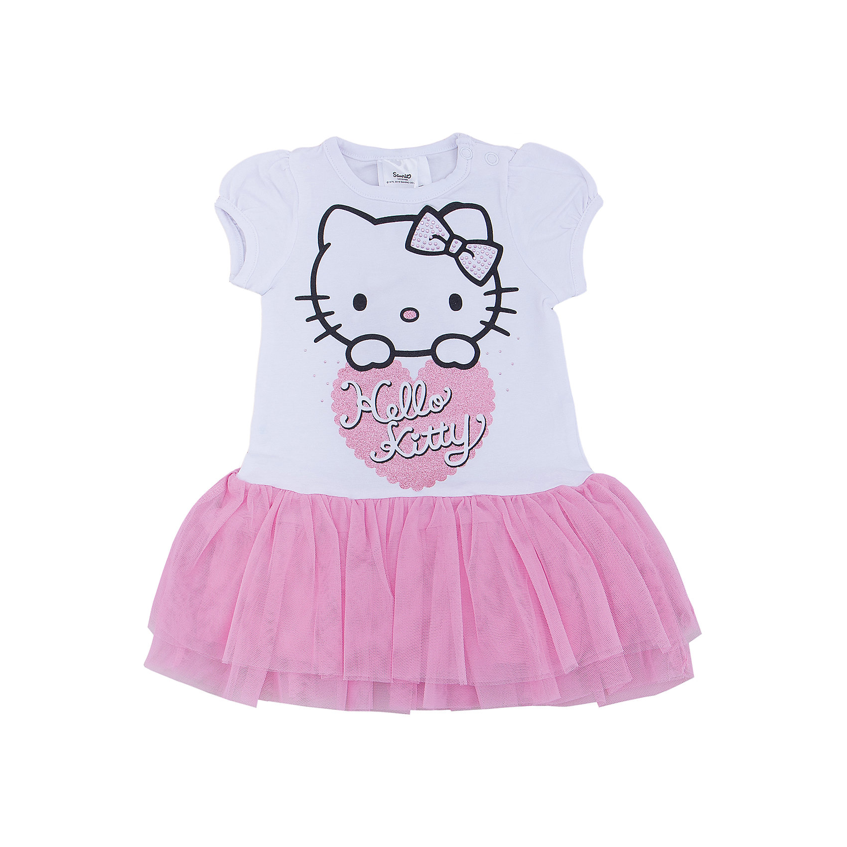 Платье для девочки PlayTodayХарактеристики:<br><br>• Вид одежды: праздничное платье, повседневное платье<br>• Сезон: круглый год<br>• Материал: хлопок – 95%, эластан – 5% (верх); полиэстер – 100% (воланы)<br>• Цвет: белый, розовый<br>• Силуэт: прямой крой<br>• Длина платья: мини<br>• Рукав: фонарик<br>• Вырез горловины: круглый<br>• Застежка: кнопки на плече<br>• Особенности ухода: ручная стирка без применения отбеливающих средств, глажение при низкой температуре <br><br>PlayToday – это линейка детской одежды, которая предназначена как для повседневности, так и для праздников. Большинство моделей выполнены в классическом стиле, сочетающем в себе традиции с яркими стильными элементами и аксессуарами. Весь ассортимент одежды сочетается между собой по стилю и цветовому решению, поэтому Вам будет легко сформировать гардероб вашего ребенка, который отражает его индивидуальность. <br>Яркое платье для девочки PlayToday прямого силуэта выполнено из хлопка, отделка в форме двойного волана – из сетки голубого цвета. У платья круглая горловина, короткий рукав-фонарик. Спереди на изделии имеется крупный принт Hello Kitty, декорированный стразами и блестками. Платье для девочки PlayToday – это стиль, качество и элегантность!<br><br>Платье для девочки PlayToday можно купить в нашем интернет-магазине.<br><br>Ширина мм: 236<br>Глубина мм: 16<br>Высота мм: 184<br>Вес г: 177<br>Цвет: белый<br>Возраст от месяцев: 6<br>Возраст до месяцев: 9<br>Пол: Женский<br>Возраст: Детский<br>Размер: 74,86,80,92<br>SKU: 5059446