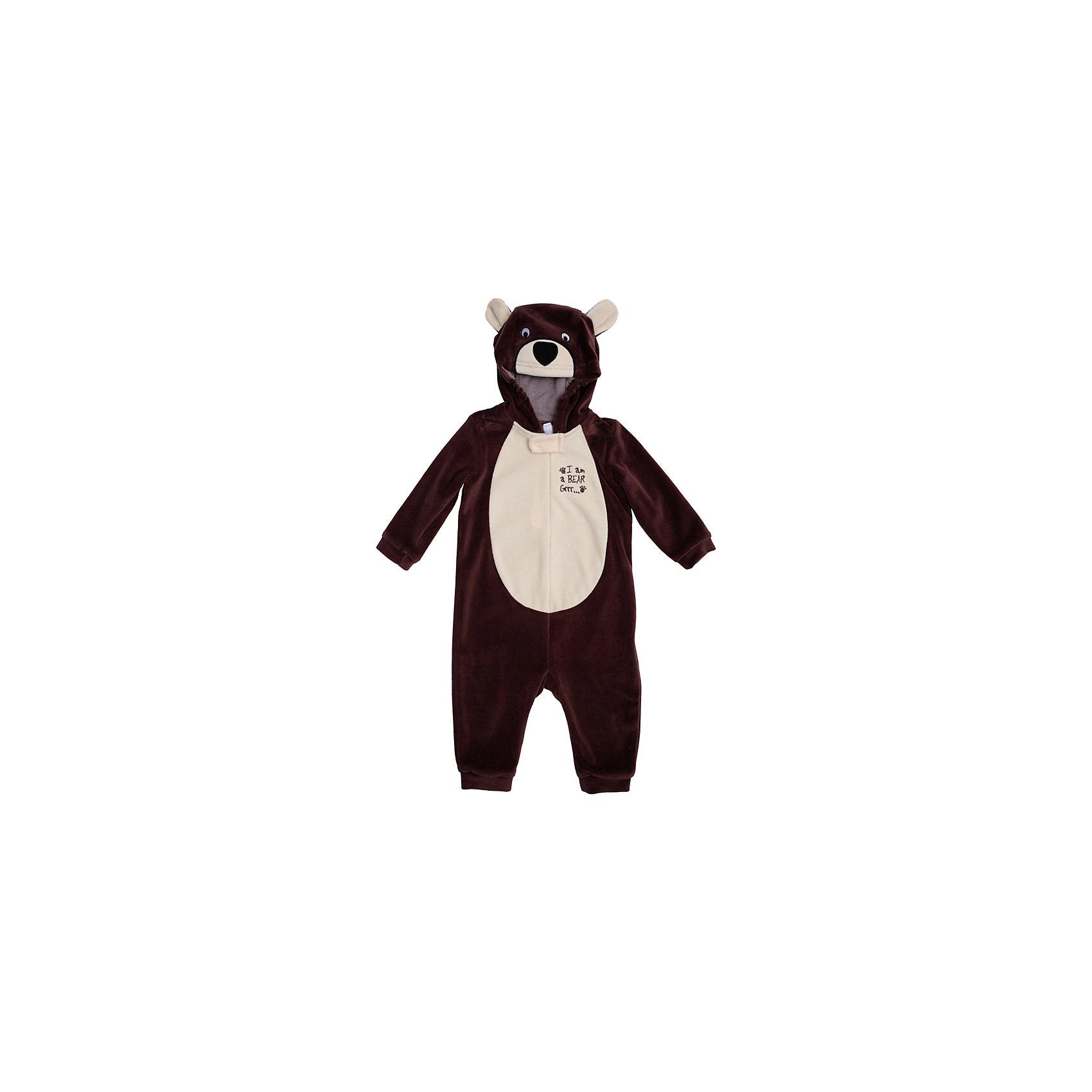 Комбинезон для мальчика PlayTodayКарнавальные костюмы и аксессуары<br>Характеристики:<br><br>• Вид одежды: комбинезон<br>• Предназначение: карнавальный костюм, повседневная одежда<br>• Пол: для мальчика<br>• Сезон: зима, демисезонный<br>• Материал: хлопок – 80%, полиэстер – 20%<br>• Цвет: коричневый, светло-бежевый<br>• Рукав: длинный<br>• Вырез горловины: круглый<br>• Застежка: молния спереди<br>• Наличие капюшона<br>• Особенности ухода: ручная стирка без применения отбеливающих средств, глажение при низкой температуре <br><br>PlayToday – это линейка детской одежды, которая предназначена как для повседневности, так и для праздников. Большинство моделей выполнены в классическом стиле, сочетающем в себе традиции с яркими стильными элементами и аксессуарами. Весь ассортимент одежды сочетается между собой по стилю и цветовому решению, поэтому Вам будет легко сформировать гардероб вашего ребенка, который отражает его индивидуальность. <br>Комбинезон для мальчика PlayToday – яркий, стильный и оригинальный наряд, который может быть использован не только в качестве теплой одежды, но и в качестве карнавального костюма. Комбинезон выполнен из велюра высокого качества. Стиль комбинезона представляет собой имитацию медвежонка: коричневые детали сочетаются со светлой грудкой, и капюшоном-мордочкой с ушками. На рукавах и штанинах предусмотрены эластичные манжеты коричневого цвета. Комбинезон удобно надевать и снимать: спереди по всей длине имеется застежка-молния. <br><br>Комбинезон для мальчика PlayToday можно купить в нашем интернет-магазине.<br><br>Ширина мм: 157<br>Глубина мм: 13<br>Высота мм: 119<br>Вес г: 200<br>Цвет: коричневый<br>Возраст от месяцев: 6<br>Возраст до месяцев: 9<br>Пол: Мужской<br>Возраст: Детский<br>Размер: 74,68,80,86,92<br>SKU: 5059477
