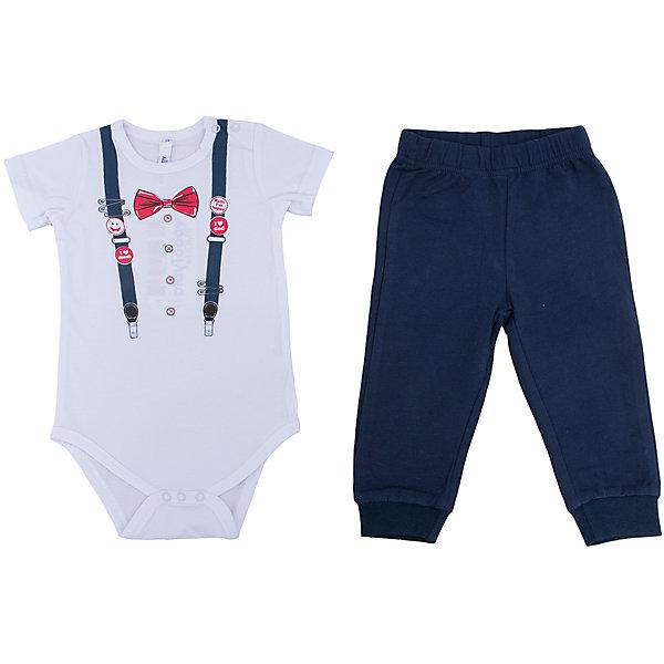 Комплект: боди и брюки для мальчика PlayTodayОдежда<br>Характеристики:<br><br>• Вид одежды: боди, брюки<br>• Предназначение: праздничная одежда, повседневная одежда<br>• Пол: для мальчика<br>• Сезон: круглый год<br>• Материал: хлопок – 95%, эластан – 5%<br>• Цвет: белый, черный, красный<br>• Рукав: короткий<br>• Длина штанишек: длинные<br>• Вырез горловины: круглый<br>• Особенности ухода: ручная стирка без применения отбеливающих средств, глажение при низкой температуре <br><br>PlayToday – это линейка детской одежды, которая предназначена как для повседневности, так и для праздников. Большинство моделей выполнены в классическом стиле, сочетающем в себе традиции с яркими стильными элементами и аксессуарами. Весь ассортимент одежды сочетается между собой по стилю и цветовому решению, поэтому Вам будет легко сформировать гардероб вашего ребенка, который отражает его индивидуальность. <br>Комплект: боди и брюки для мальчика PlayToday – яркий и стильный комплект, предназначенный как для праздничных дней, так и для повседневности. Боди и брюки выполнены из натурального хлопка с добавлением эластана, что придает комплекту особую прочность и износоустойчивость. У боди белого цвета короткий рукав и имитация стильных аксессуаров: подтяжек, значков, бабочки и пуговиц. На штанишках с манжетами черного цвета предусмотрена имитация застежки. Боди и штанишки можно носить как в комплекте, так и по отдельности.<br><br>Комплект: боди и брюки для мальчика PlayToday можно купить в нашем интернет-магазине.<br><br>Ширина мм: 215<br>Глубина мм: 88<br>Высота мм: 191<br>Вес г: 336<br>Цвет: белый<br>Возраст от месяцев: 6<br>Возраст до месяцев: 9<br>Пол: Мужской<br>Возраст: Детский<br>Размер: 74,92,86,80<br>SKU: 5059483