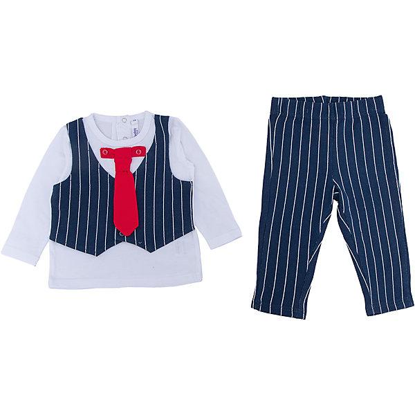 Комплект: футболка с длинным рукавом и брюки для мальчика PlayTodayКомплекты<br>Характеристики:<br><br>• Вид одежды: футболка с длинным рукавом и брюки<br>• Предназначение: праздничная одежда, повседневная одежда<br>• Пол: для мальчика<br>• Сезон: круглый год<br>• Материал: хлопок – 95%, эластан – 5%<br>• Цвет: белый, черный, красный<br>• Рукав: длинный<br>• Длина штанишек: длинные<br>• Вырез горловины: круглый<br>• Особенности ухода: ручная стирка без применения отбеливающих средств, глажение при низкой температуре <br><br>PlayToday – это линейка детской одежды, которая предназначена как для повседневности, так и для праздников. Большинство моделей выполнены в классическом стиле, сочетающем в себе традиции с яркими стильными элементами и аксессуарами. Весь ассортимент одежды сочетается между собой по стилю и цветовому решению, поэтому Вам будет легко сформировать гардероб вашего ребенка, который отражает его индивидуальность. <br>Комплект: футболка с длинным рукавом и брюки для мальчика PlayToday – яркий, стильный и оригинальный комплект, предназначенный как для праздничных дней, так и для повседневности. Футболка и брюки выполнены из натурального хлопка с добавлением эластана, что придает комплекту особую прочность и износоустойчивость. У футболки длинный рукав и втачной жилет, застегивающийся на пуговицы, кроме того предусмотрен съемный галстук. Длинные штанишки имеют широкую эластичную резинку и свободный крой, благодаря чему, изделие не сковывает движений ребенка. <br><br>Комплект: футболку с длинным рукавом и брюки для мальчика PlayToday можно купить в нашем интернет-магазине.<br>Ширина мм: 215; Глубина мм: 88; Высота мм: 191; Вес г: 336; Цвет: белый; Возраст от месяцев: 6; Возраст до месяцев: 9; Пол: Мужской; Возраст: Детский; Размер: 74,92,86,80; SKU: 5059488;
