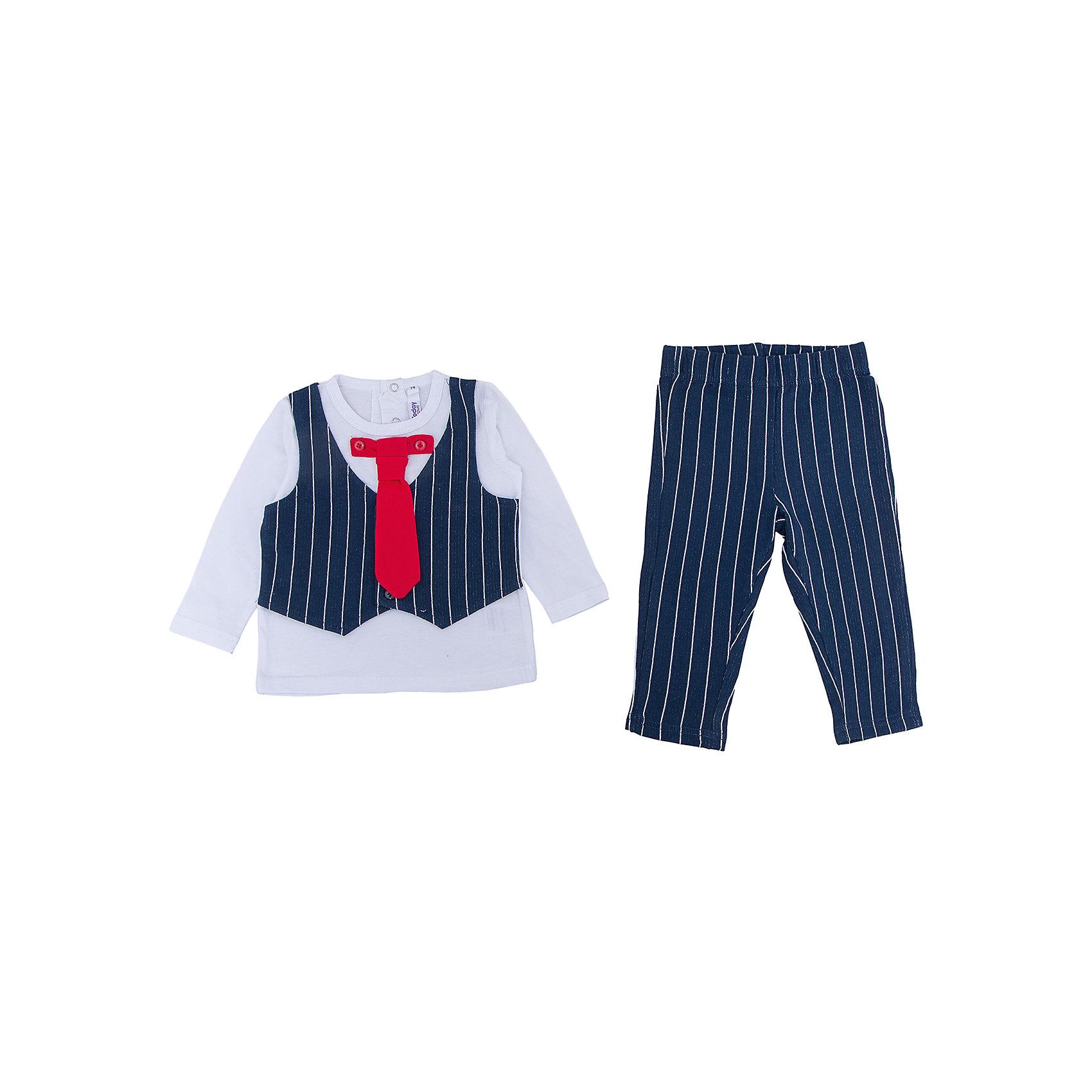 Комплект: футболка с длинным рукавом и брюки для мальчика PlayTodayОдежда<br>Характеристики:<br><br>• Вид одежды: футболка с длинным рукавом и брюки<br>• Предназначение: праздничная одежда, повседневная одежда<br>• Пол: для мальчика<br>• Сезон: круглый год<br>• Материал: хлопок – 95%, эластан – 5%<br>• Цвет: белый, черный, красный<br>• Рукав: длинный<br>• Длина штанишек: длинные<br>• Вырез горловины: круглый<br>• Особенности ухода: ручная стирка без применения отбеливающих средств, глажение при низкой температуре <br><br>PlayToday – это линейка детской одежды, которая предназначена как для повседневности, так и для праздников. Большинство моделей выполнены в классическом стиле, сочетающем в себе традиции с яркими стильными элементами и аксессуарами. Весь ассортимент одежды сочетается между собой по стилю и цветовому решению, поэтому Вам будет легко сформировать гардероб вашего ребенка, который отражает его индивидуальность. <br>Комплект: футболка с длинным рукавом и брюки для мальчика PlayToday – яркий, стильный и оригинальный комплект, предназначенный как для праздничных дней, так и для повседневности. Футболка и брюки выполнены из натурального хлопка с добавлением эластана, что придает комплекту особую прочность и износоустойчивость. У футболки длинный рукав и втачной жилет, застегивающийся на пуговицы, кроме того предусмотрен съемный галстук. Длинные штанишки имеют широкую эластичную резинку и свободный крой, благодаря чему, изделие не сковывает движений ребенка. <br><br>Комплект: футболку с длинным рукавом и брюки для мальчика PlayToday можно купить в нашем интернет-магазине.<br><br>Ширина мм: 215<br>Глубина мм: 88<br>Высота мм: 191<br>Вес г: 336<br>Цвет: разноцветный<br>Возраст от месяцев: 6<br>Возраст до месяцев: 9<br>Пол: Мужской<br>Возраст: Детский<br>Размер: 74,92,80,86<br>SKU: 5059488