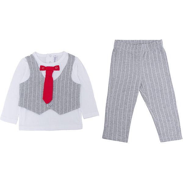 Комплект: футболка с длинным рукавом и брюки для мальчика PlayTodayКомплекты<br>Характеристики:<br><br>• Вид одежды: футболка с длинным рукавом и брюки<br>• Предназначение: праздничная одежда, повседневная одежда<br>• Пол: для мальчика<br>• Сезон: круглый год<br>• Материал: хлопок – 95%, эластан – 5%<br>• Цвет: белый, серый, красный<br>• Рукав: длинный<br>• Длина штанишек: длинные<br>• Вырез горловины: круглый<br>• Особенности ухода: ручная стирка без применения отбеливающих средств, глажение при низкой температуре <br><br>PlayToday – это линейка детской одежды, которая предназначена как для повседневности, так и для праздников. Большинство моделей выполнены в классическом стиле, сочетающем в себе традиции с яркими стильными элементами и аксессуарами. Весь ассортимент одежды сочетается между собой по стилю и цветовому решению, поэтому Вам будет легко сформировать гардероб вашего ребенка, который отражает его индивидуальность. <br>Комплект: футболка с длинным рукавом и брюки для мальчика PlayToday – яркий, стильный и оригинальный комплект, предназначенный как для праздничных дней, так и для повседневности. Футболка и брюки выполнены из натурального хлопка с добавлением эластана, что придает комплекту особую прочность и износоустойчивость. У футболки длинный рукав и втачной жилет, застегивающийся на пуговицы, кроме того предусмотрен съемный галстук. Длинные штанишки имеют широкую эластичную резинку и свободный крой, благодаря чему, изделие не сковывает движений ребенка. <br><br>Комплект: футболку с длинным рукавом и брюки для мальчика PlayToday можно купить в нашем интернет-магазине.<br><br>Ширина мм: 215<br>Глубина мм: 88<br>Высота мм: 191<br>Вес г: 336<br>Цвет: белый<br>Возраст от месяцев: 6<br>Возраст до месяцев: 9<br>Пол: Мужской<br>Возраст: Детский<br>Размер: 74,92,86,80<br>SKU: 5059493