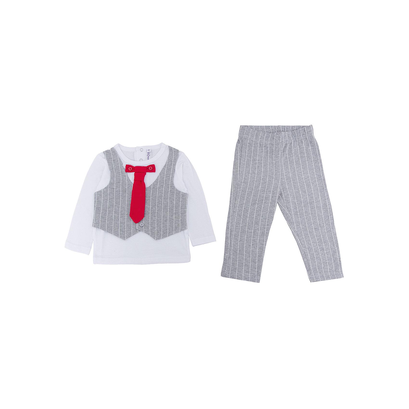 Комплект: футболка с длинным рукавом и брюки для мальчика PlayTodayКомплекты<br>Характеристики:<br><br>• Вид одежды: футболка с длинным рукавом и брюки<br>• Предназначение: праздничная одежда, повседневная одежда<br>• Пол: для мальчика<br>• Сезон: круглый год<br>• Материал: хлопок – 95%, эластан – 5%<br>• Цвет: белый, серый, красный<br>• Рукав: длинный<br>• Длина штанишек: длинные<br>• Вырез горловины: круглый<br>• Особенности ухода: ручная стирка без применения отбеливающих средств, глажение при низкой температуре <br><br>PlayToday – это линейка детской одежды, которая предназначена как для повседневности, так и для праздников. Большинство моделей выполнены в классическом стиле, сочетающем в себе традиции с яркими стильными элементами и аксессуарами. Весь ассортимент одежды сочетается между собой по стилю и цветовому решению, поэтому Вам будет легко сформировать гардероб вашего ребенка, который отражает его индивидуальность. <br>Комплект: футболка с длинным рукавом и брюки для мальчика PlayToday – яркий, стильный и оригинальный комплект, предназначенный как для праздничных дней, так и для повседневности. Футболка и брюки выполнены из натурального хлопка с добавлением эластана, что придает комплекту особую прочность и износоустойчивость. У футболки длинный рукав и втачной жилет, застегивающийся на пуговицы, кроме того предусмотрен съемный галстук. Длинные штанишки имеют широкую эластичную резинку и свободный крой, благодаря чему, изделие не сковывает движений ребенка. <br><br>Комплект: футболку с длинным рукавом и брюки для мальчика PlayToday можно купить в нашем интернет-магазине.<br><br>Ширина мм: 215<br>Глубина мм: 88<br>Высота мм: 191<br>Вес г: 336<br>Цвет: разноцветный<br>Возраст от месяцев: 6<br>Возраст до месяцев: 9<br>Пол: Мужской<br>Возраст: Детский<br>Размер: 74,80,86,92<br>SKU: 5059493