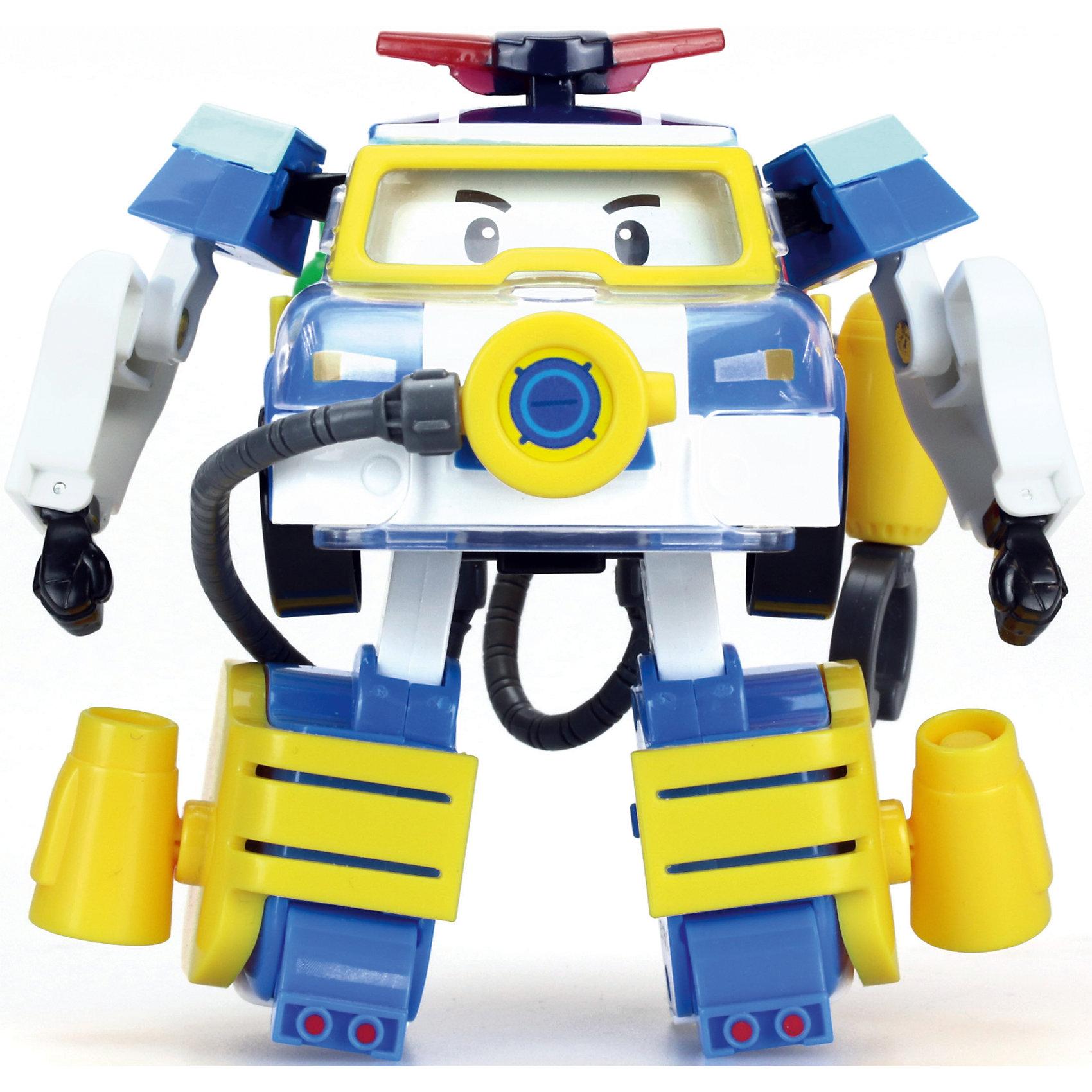 Трансформер и костюм водолаза Поли, 10 см, Робокар ПолиМашинки и транспорт для малышей<br>Трансформер и костюм водолаза Поли, 10 см, Робокар Поли.<br><br>Характеристики:<br><br>- В наборе: игрушка-трансформер, аксессуары костюма водолаза<br>- Материал: пластик<br>- Размер игрушки: 10 см.<br>- Упаковка: картонная коробка блистерного типа<br>- Размер упаковки: 10,8 x 15,2 x 17,2 см.<br>- Вес: 335 гр.<br><br>Теперь у ловкого и отважного полицейского автомобиля Робокара Поли появилось еще больше возможностей помогать людям, ведь у него есть водолазный костюм. Жители необычного городка Брумстауна могут не беспокоиться даже в том случае, если неприятности настигнут их под водой. Наш Поли легко и быстро трансформируется из машинки в робота, наденет на себя костюм и ринется на помощь людям!<br><br>Трансформера и костюм водолаза Поли, 10 см, Робокар Поли можно купить в нашем интернет-магазине.<br><br>Ширина мм: 108<br>Глубина мм: 172<br>Высота мм: 152<br>Вес г: 335<br>Возраст от месяцев: 36<br>Возраст до месяцев: 2147483647<br>Пол: Унисекс<br>Возраст: Детский<br>SKU: 5059828