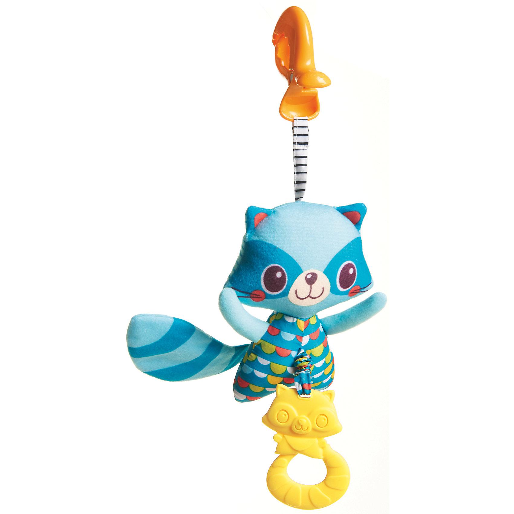 Развивающая игрушка Енот, Tiny LoveИгрушки для малышей<br>Развивающая игрушка Енот, Tiny Love.<br><br>Характеристики:<br><br>- В комплекте: клипса для крепления, мягкая игрушка енот, силиконовый прорезыватель енот<br>- Материал: текстиль, пластик<br>- Размер игрушки: 13 х 4 х 39 см.<br><br>Игрушка выполнена в виде миловидного енота голубого цвета с длинным хвостиком и острыми ушками. Игровой аксессуар можно подвесить на кроватку ребёнку или коляску с помощью удобной клипсы из комплекта. Хвостик енота при контакте с рукой издаёт забавный шуршащий звук. Прорезыватель в виде пластиковой копии енота, закреплён на веревочку, и если ее потянуть, то игрушка начнет вибрировать. Игрушка позволит малышу тренировать хватательные рефлексы и мелкую моторику рук, а прорезыватель значительно облегчит процесс появления первых зубов у ребенка.<br><br>Развивающую игрушку Енот, Tiny Love можно купить в нашем интернет-магазине.<br><br>Ширина мм: 40<br>Глубина мм: 200<br>Высота мм: 120<br>Вес г: 113<br>Возраст от месяцев: 36<br>Возраст до месяцев: 2147483647<br>Пол: Унисекс<br>Возраст: Детский<br>SKU: 5059844