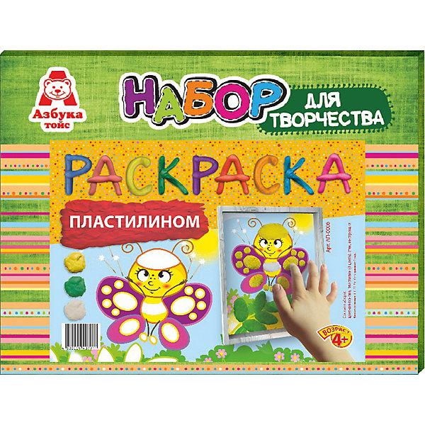 Раскраска пластилином БабочкаКартины из пластилина<br>Характеристики товара:<br><br>• количество цветов: 3<br>• возраст: 4+<br>• масса: 160 г<br>• в комплект входит стек из пластика и картинка<br>• габариты: 270 х 30 х 210 мм<br>• упаковка: коробка<br>• страна бренда: РФ<br>• страна изготовитель: РФ<br><br>Раскрашивать картинки карандашами – привычное дело. Но что если попробовать новые материалы, например, цветной песок? Создание предметов для декорирования нравится всем малышам, так как они видят готовый результат и могут использовать его для украшения своей комнаты. В набор входит все необходимое для создания картинки. Такой вид времяпровождения развивает мелкую моторику , усидчивость, внимательность, творческие способности и аккуратность малыша. <br>Набор станет отличным подарком ребенку, так как он сможет сам сделать полезную вещь для себя или в качестве подарка близким! Материалы, использованные при изготовлении товара, сертифицированы и отвечают всем международным требованиям по качеству. <br><br>Раскраску пластилином Бабочка от бренда Азбука Тойс можно приобрести в нашем интернет-магазине.<br>Ширина мм: 270; Глубина мм: 30; Высота мм: 210; Вес г: 160; Возраст от месяцев: 48; Возраст до месяцев: 96; Пол: Унисекс; Возраст: Детский; SKU: 5062815;