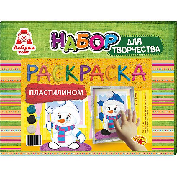 Раскраска пластилином СнеговикНаборы для лепки<br>Характеристики товара:<br><br>• количество цветов: 3<br>• возраст: 4+<br>• масса: 160 г<br>• в комплект входит стек из пластика и картинка<br>• габариты: 270 х 30 х 210 мм<br>• упаковка: коробка<br>• страна бренда: РФ<br>• страна изготовитель: РФ<br><br>Раскрашивать картинки карандашами – привычное дело. Но что если попробовать новые материалы, например, цветной песок? Создание предметов для декорирования нравится всем малышам, так как они видят готовый результат и могут использовать его для украшения своей комнаты. В набор входит все необходимое для создания картинки. Такой вид времяпровождения развивает мелкую моторику , усидчивость, внимательность, творческие способности и аккуратность малыша. <br>Набор станет отличным подарком ребенку, так как он сможет сам сделать полезную вещь для себя или в качестве подарка близким! Материалы, использованные при изготовлении товара, сертифицированы и отвечают всем международным требованиям по качеству. <br><br>Раскраску пластилином Снеговик от бренда Азбука Тойс можно приобрести в нашем интернет-магазине.<br><br>Ширина мм: 270<br>Глубина мм: 30<br>Высота мм: 210<br>Вес г: 160<br>Возраст от месяцев: 48<br>Возраст до месяцев: 96<br>Пол: Унисекс<br>Возраст: Детский<br>SKU: 5062816