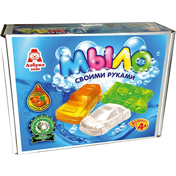 Мыло МашинкиНаборы для создания мыла<br>Характеристики товара:<br><br>• упаковка: коробка<br>• количество цветов: 5<br>• возраст: 4+<br>• масса: 400 г<br>• габариты: 70х220х170 мм<br>• комплектация: натуральная мыльная основа (5 видов), эфирное масло (5 видов), деревянная палочка, емкость для растапливания, формочки - 5 шт., инструкция<br>• страна бренда: РФ<br>• страна изготовитель: РФ<br><br>Мыловарение – интересный и необычный способ занять малыша. Ошибочно полагать, что создавать мыло – творчество только для девочек. В новом наборе формочки позволяют варить мыло в форме различных предметов. На выходе у ребенка получится настоящее мыло, готовое к использованию. Благодаря эфирным маслам оно будет приятно пахнуть. В наборе есть все необходимое для создания продукта.<br>Набор станет отличным подарком ребенку, так как он сможет сам сделать полезную вещь для себя или в качестве подарка близким! Материалы, использованные при изготовлении товара, сертифицированы и отвечают всем международным требованиям по качеству. <br><br>Набор Мыло Машинки от бренда Азбука Тойс можно приобрести в нашем интернет-магазине.<br><br>Ширина мм: 220<br>Глубина мм: 70<br>Высота мм: 170<br>Вес г: 400<br>Возраст от месяцев: 48<br>Возраст до месяцев: 96<br>Пол: Мужской<br>Возраст: Детский<br>SKU: 5062860