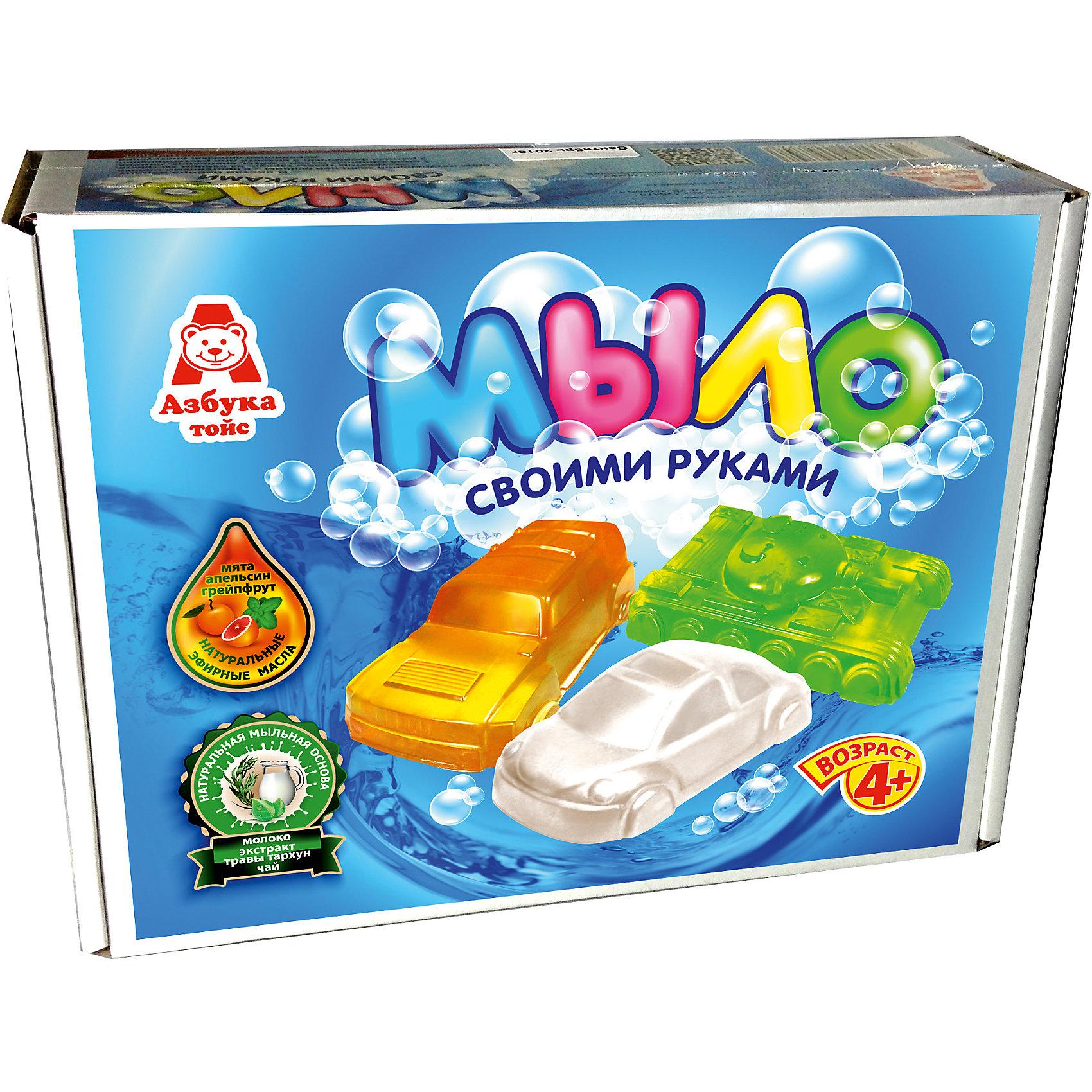 Мыло МашинкиСоздание мыла<br>Характеристики товара:<br><br>• упаковка: коробка<br>• количество цветов: 5<br>• возраст: 4+<br>• масса: 400 г<br>• габариты: 70х220х170 мм<br>• комплектация: натуральная мыльная основа (5 видов), эфирное масло (5 видов), деревянная палочка, емкость для растапливания, формочки - 5 шт., инструкция<br>• страна бренда: РФ<br>• страна изготовитель: РФ<br><br>Мыловарение – интересный и необычный способ занять малыша. Ошибочно полагать, что создавать мыло – творчество только для девочек. В новом наборе формочки позволяют варить мыло в форме различных предметов. На выходе у ребенка получится настоящее мыло, готовое к использованию. Благодаря эфирным маслам оно будет приятно пахнуть. В наборе есть все необходимое для создания продукта.<br>Набор станет отличным подарком ребенку, так как он сможет сам сделать полезную вещь для себя или в качестве подарка близким! Материалы, использованные при изготовлении товара, сертифицированы и отвечают всем международным требованиям по качеству. <br><br>Набор Мыло Машинки от бренда Азбука Тойс можно приобрести в нашем интернет-магазине.<br><br>Ширина мм: 220<br>Глубина мм: 70<br>Высота мм: 170<br>Вес г: 400<br>Возраст от месяцев: 48<br>Возраст до месяцев: 96<br>Пол: Мужской<br>Возраст: Детский<br>SKU: 5062860