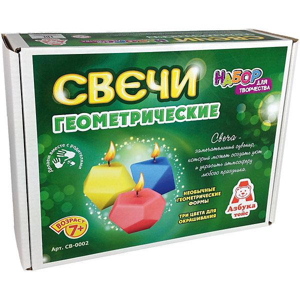 Свечи геометрическиеНаборы для создания свечей<br>Характеристики товара:<br><br>• упаковка: коробка<br>• материал: парафин<br>• возраст: 7+<br>• масса: 314 г<br>• габариты: 220х70х170 мм<br>• комплектация: палочка, парафин, кисть для клея, клей, скотч, восковые мелки, шаблоны<br>• страна бренда: РФ<br>• страна изготовитель: РФ<br><br>Магия огня притягательна для всех возрастов. Создание свечей – интересный и необычный опыт в творчестве малышей. Набор содержит все необходимое, чтобы создать необычную свечу. Готовую свечу можно использовать, как по прямому назначению, так и как элемент декора. <br>Набор станет отличным подарком ребенку, так как он сможет сам сделать красивую вещь для себя или в качестве подарка близким! Материалы, использованные при изготовлении товара, сертифицированы и отвечают всем международным требованиям по качеству. <br><br>Свечи геометрические от бренда Азбука Тойс можно приобрести в нашем интернет-магазине.<br><br>Ширина мм: 220<br>Глубина мм: 70<br>Высота мм: 170<br>Вес г: 314<br>Возраст от месяцев: 84<br>Возраст до месяцев: 144<br>Пол: Унисекс<br>Возраст: Детский<br>SKU: 5062892