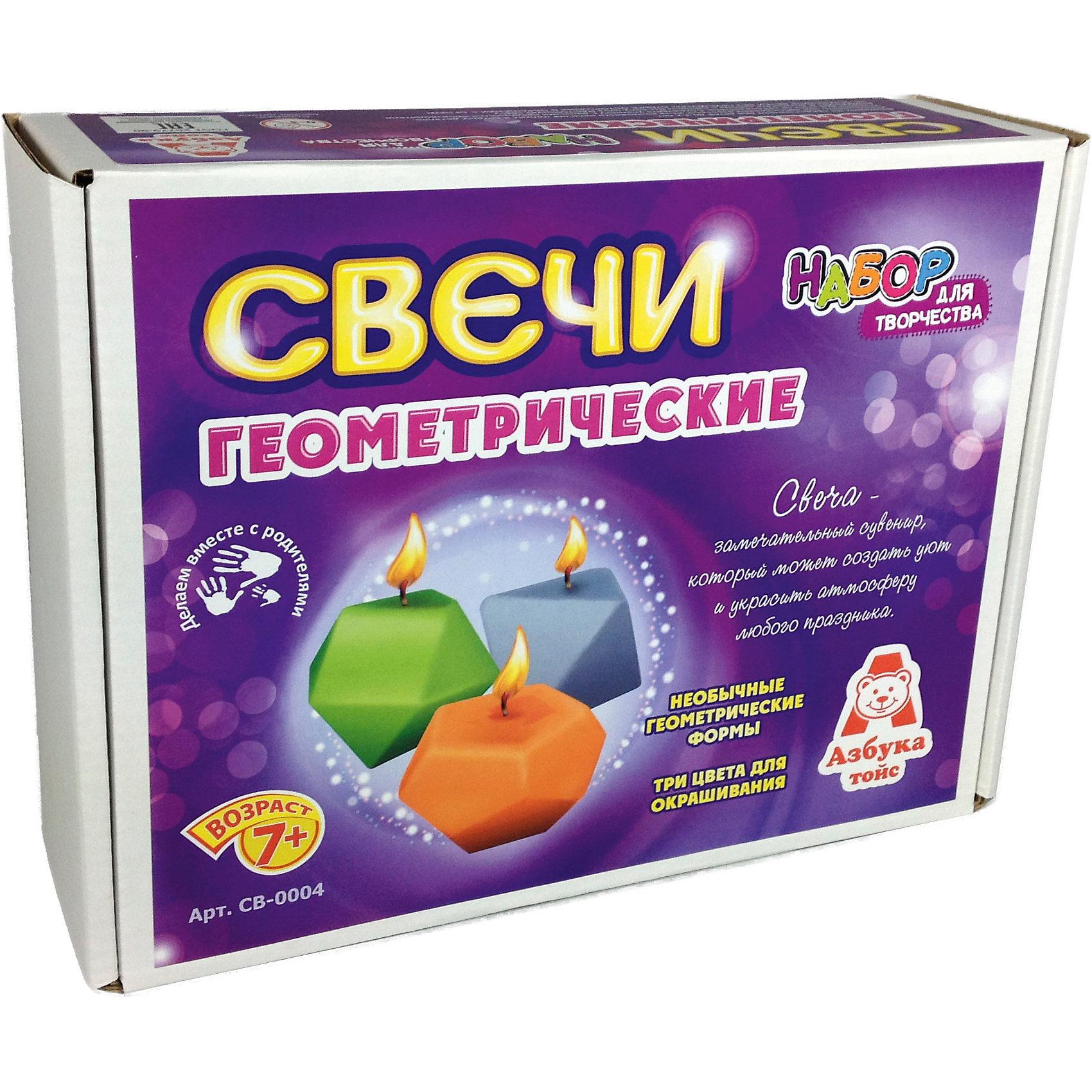 Свечи геметрическиеНаборы для создания свечей<br>Характеристики товара:<br><br>• упаковка: коробка<br>• материал: парафин<br>• возраст: 7+<br>• масса: 306 г<br>• габариты: 220х70х170 мм<br>• комплектация: палочка, парафин, кисть для клея, клей, скотч, восковые мелки, шаблоны<br>• страна бренда: РФ<br>• страна изготовитель: РФ<br><br>Магия огня притягательна для всех возрастов. Создание свечей – интересный и необычный опыт в творчестве малышей. Набор содержит все необходимое, чтобы создать необычную свечу. Готовую свечу можно использовать, как по прямому назначению, так и как элемент декора. <br>Набор станет отличным подарком ребенку, так как он сможет сам сделать красивую вещь для себя или в качестве подарка близким! Материалы, использованные при изготовлении товара, сертифицированы и отвечают всем международным требованиям по качеству. <br><br>Свечи геометрические от бренда Азбука Тойс можно приобрести в нашем интернет-магазине.<br><br>Ширина мм: 220<br>Глубина мм: 70<br>Высота мм: 170<br>Вес г: 306<br>Возраст от месяцев: 84<br>Возраст до месяцев: 144<br>Пол: Унисекс<br>Возраст: Детский<br>SKU: 5062894