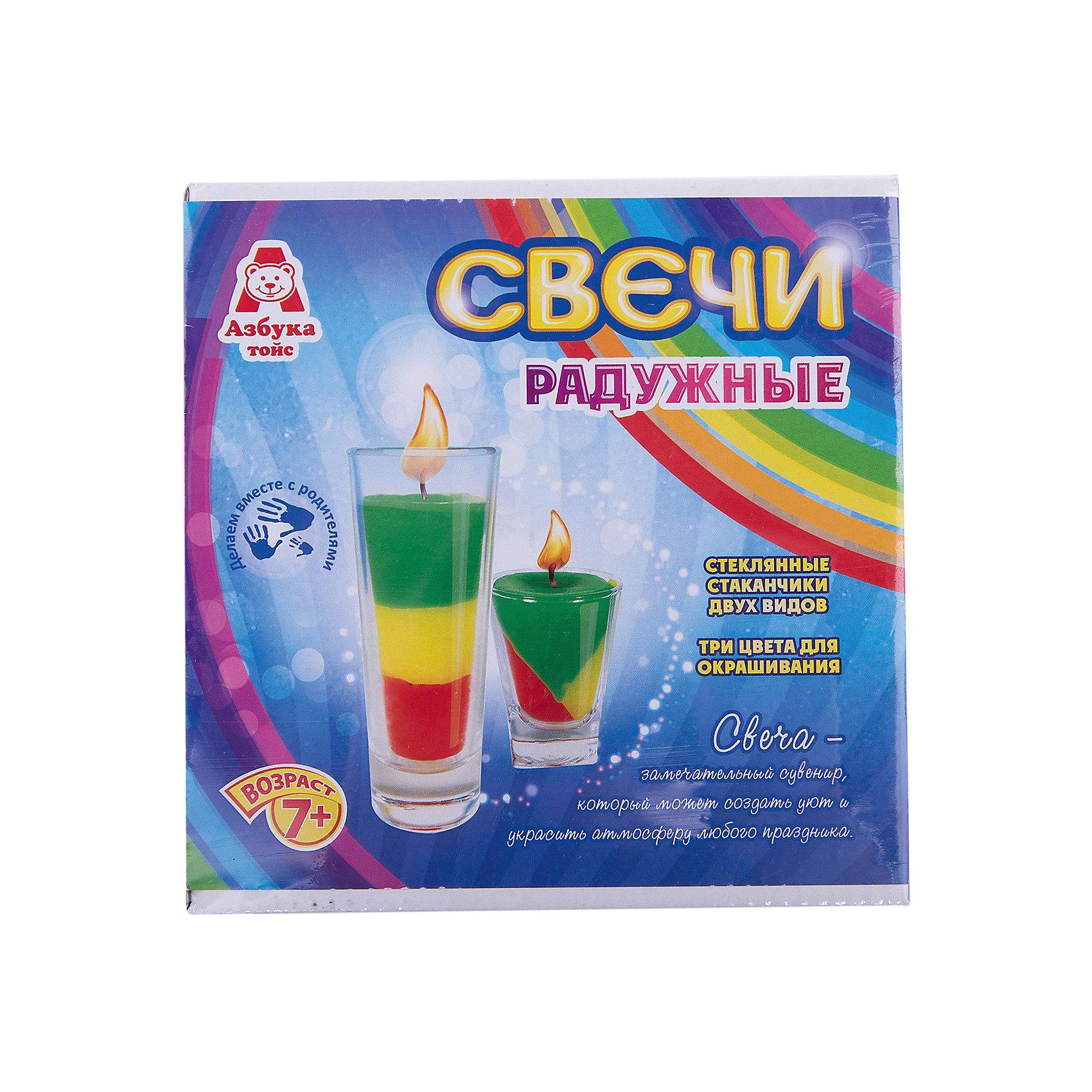Свечи радужныеНаборы для создания свечей<br>Характеристики товара:<br><br>• упаковка: коробка<br>• материал: парафин<br>• возраст: 7+<br>• масса: 390 г<br>• габариты: 140х50х140 мм<br>• комплектация: 2 стеклянных стаканчика, восковые мелки, парафин, фитиль, палочка для размешивания, инструкция<br>• страна бренда: РФ<br>• страна изготовитель: РФ<br><br>Магия огня притягательна для всех возрастов. Создание свечей – интересный и необычный опыт в творчестве малышей. Набор содержит все необходимое, чтобы создать необычную свечу. Готовую свечу можно использовать, как по прямому назначению, так и как элемент декора. <br>Набор станет отличным подарком ребенку, так как он сможет сам сделать красивую вещь для себя или в качестве подарка близким! Материалы, использованные при изготовлении товара, сертифицированы и отвечают всем международным требованиям по качеству. <br><br>Свечи радужные от бренда Азбука Тойс можно приобрести в нашем интернет-магазине.<br><br>Ширина мм: 140<br>Глубина мм: 50<br>Высота мм: 140<br>Вес г: 390<br>Возраст от месяцев: 84<br>Возраст до месяцев: 144<br>Пол: Унисекс<br>Возраст: Детский<br>SKU: 5062895