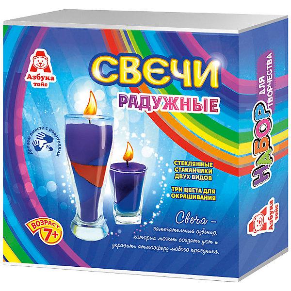 Свечи радужныеНаборы для создания свечей<br>Характеристики товара:<br><br>• упаковка: коробка<br>• материал: парафин<br>• возраст: 7+<br>• масса: 390 г<br>• габариты: 140х50х140 мм<br>• комплектация: 2 стеклянных стаканчика, восковые мелки, парафин, фитиль, палочка для размешивания, инструкция<br>• страна бренда: РФ<br>• страна изготовитель: РФ<br><br>Магия огня притягательна для всех возрастов. Создание свечей – интересный и необычный опыт в творчестве малышей. Набор содержит все необходимое, чтобы создать необычную свечу. Готовую свечу можно использовать, как по прямому назначению, так и как элемент декора. <br>Набор станет отличным подарком ребенку, так как он сможет сам сделать красивую вещь для себя или в качестве подарка близким! Материалы, использованные при изготовлении товара, сертифицированы и отвечают всем международным требованиям по качеству. <br><br>Свечи радужные от бренда Азбука Тойс можно приобрести в нашем интернет-магазине.<br>Ширина мм: 140; Глубина мм: 50; Высота мм: 140; Вес г: 390; Возраст от месяцев: 84; Возраст до месяцев: 144; Пол: Унисекс; Возраст: Детский; SKU: 5062896;