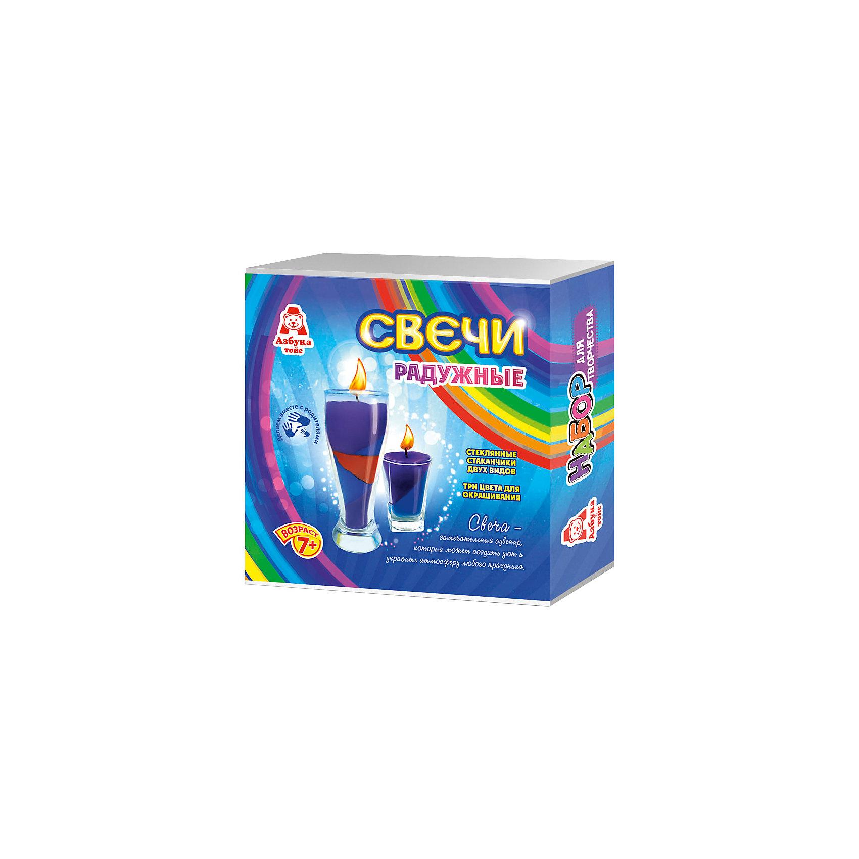 Свечи радужныеНаборы для создания свечей<br>Характеристики товара:<br><br>• упаковка: коробка<br>• материал: парафин<br>• возраст: 7+<br>• масса: 390 г<br>• габариты: 140х50х140 мм<br>• комплектация: 2 стеклянных стаканчика, восковые мелки, парафин, фитиль, палочка для размешивания, инструкция<br>• страна бренда: РФ<br>• страна изготовитель: РФ<br><br>Магия огня притягательна для всех возрастов. Создание свечей – интересный и необычный опыт в творчестве малышей. Набор содержит все необходимое, чтобы создать необычную свечу. Готовую свечу можно использовать, как по прямому назначению, так и как элемент декора. <br>Набор станет отличным подарком ребенку, так как он сможет сам сделать красивую вещь для себя или в качестве подарка близким! Материалы, использованные при изготовлении товара, сертифицированы и отвечают всем международным требованиям по качеству. <br><br>Свечи радужные от бренда Азбука Тойс можно приобрести в нашем интернет-магазине.<br><br>Ширина мм: 140<br>Глубина мм: 50<br>Высота мм: 140<br>Вес г: 390<br>Возраст от месяцев: 84<br>Возраст до месяцев: 144<br>Пол: Унисекс<br>Возраст: Детский<br>SKU: 5062896