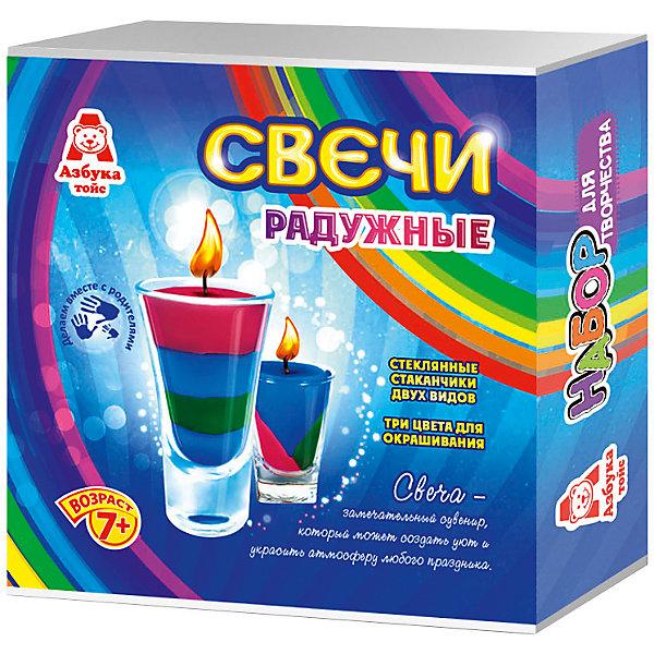 Свечи радужныеНаборы для создания свечей<br>Характеристики товара:<br><br>• упаковка: коробка<br>• материал: парафин<br>• возраст: 7+<br>• масса: 390 г<br>• габариты: 140х50х140 мм<br>• комплектация: 2 стеклянных стаканчика, восковые мелки, парафин, фитиль, палочка для размешивания, инструкция<br>• страна бренда: РФ<br>• страна изготовитель: РФ<br><br>Магия огня притягательна для всех возрастов. Создание свечей – интересный и необычный опыт в творчестве малышей. Набор содержит все необходимое, чтобы создать необычную свечу. Готовую свечу можно использовать, как по прямому назначению, так и как элемент декора. <br>Набор станет отличным подарком ребенку, так как он сможет сам сделать красивую вещь для себя или в качестве подарка близким! Материалы, использованные при изготовлении товара, сертифицированы и отвечают всем международным требованиям по качеству. <br><br>Свечи радужные от бренда Азбука Тойс можно приобрести в нашем интернет-магазине.<br><br>Ширина мм: 140<br>Глубина мм: 50<br>Высота мм: 140<br>Вес г: 390<br>Возраст от месяцев: 84<br>Возраст до месяцев: 144<br>Пол: Унисекс<br>Возраст: Детский<br>SKU: 5062897