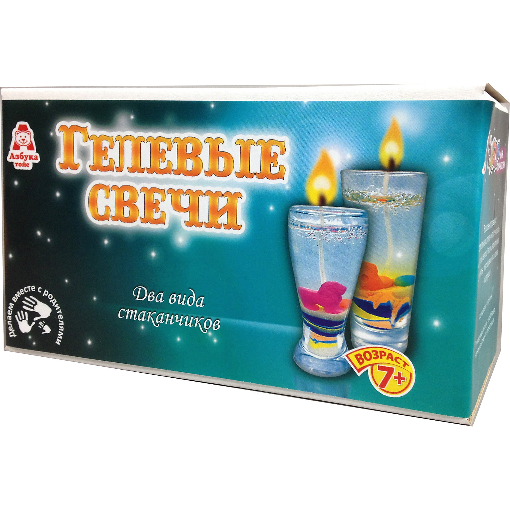 Свечи гелевые ЦиркНаборы для создания свечей<br>Характеристики товара:<br><br>• упаковка: коробка<br>• материал: гель<br>• возраст: 7+<br>• масса: 470 г<br>• габариты: 170х80х100 мм<br>• комплектация: 2 стеклянных стаканчика, гель, фитиль, пластмассовый ножик и ложка, песок, декоративные элементы, инструкция<br>• страна бренда: РФ<br>• страна изготовитель: РФ<br><br>Магия огня притягательна для всех возрастов. Создание свечей – интересный и необычный опыт в творчестве малышей. Набор содержит все необходимое, чтобы создать необычную свечу. Готовую свечу можно использовать, как по прямому назначению, так и как элемент декора. <br>Набор станет отличным подарком ребенку, так как он сможет сам сделать красивую вещь для себя или в качестве подарка близким! Материалы, использованные при изготовлении товара, сертифицированы и отвечают всем международным требованиям по качеству. <br><br>Свечи гелевые Цирк от бренда Азбука Тойс можно приобрести в нашем интернет-магазине.<br><br>Ширина мм: 170<br>Глубина мм: 80<br>Высота мм: 100<br>Вес г: 470<br>Возраст от месяцев: 84<br>Возраст до месяцев: 144<br>Пол: Унисекс<br>Возраст: Детский<br>SKU: 5062899