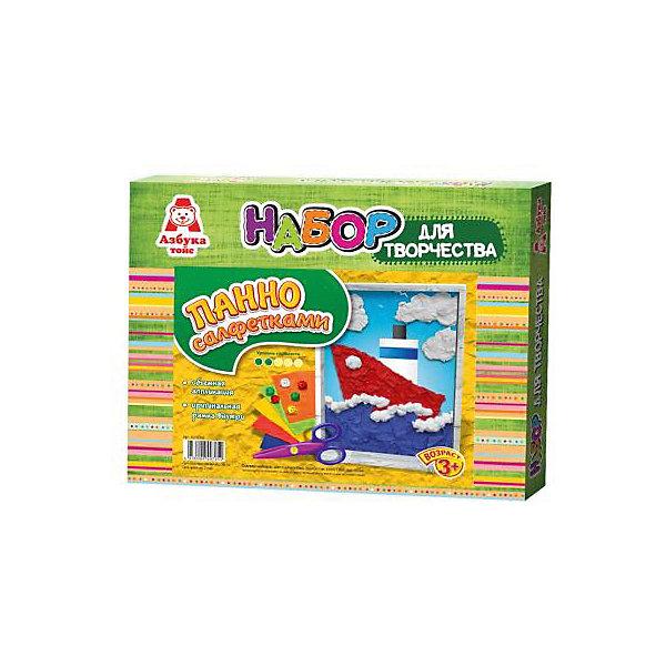 Аппликация салфетками КорабльБумага<br>Аппликация салфетками Корабль<br><br>Характеристики:<br><br>- в набор входит: основа, цветные салфетки, кисть, клей ПВА, рамка<br>- состав: картон, бумага, пластик <br>- формат: 27 * 3 * 22 см.<br>- вес: 116 гр.<br>- для детей в возрасте: от 3 до 6 лет<br>- Страна производитель: Российская Федерация<br><br>Набор для творчества Аппликация салфетками Корабль от компании Азбука тойс понравится маленьким пальчиками и создаст яркое настроение для отважных приключений. Пошаговая инструкция подробно описывает процесс выполнения аппликации. Шарики из салфеток клеятся на цветную основу с помощью клея, входящего в комплект. Работа с таким набором развивает моторику ручек, воображение, усидчивость, аккуратность и внимание. Панно из салфеток имеет второй уровень сложности, но его выполнить ничуть не трудно, поэтому ребенок вскоре сможет порадоваться своему небольшому шедевру и, может быть, даже подарить его кому-нибудь. Красивая рамка входит в комплект.<br><br>Аппликацию салфетками Корабльможно купить в нашем интернет-магазине.<br><br>Ширина мм: 270<br>Глубина мм: 30<br>Высота мм: 220<br>Вес г: 116<br>Возраст от месяцев: 36<br>Возраст до месяцев: 84<br>Пол: Мужской<br>Возраст: Детский<br>SKU: 5062940