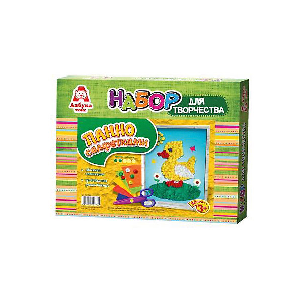 Аппликация салфетками УточкаБумага<br>Аппликация салфетками Уточка<br><br>Характеристики:<br><br>- в набор входит: основа, цветные салфетки, кисть, клей ПВА, рамка<br>- состав: картон, бумага, пластик <br>- формат: 27 * 3 * 22 см.<br>- вес: 116 гр.<br>- для детей в возрасте: от 3 до 6 лет<br>- Страна производитель: Российская Федерация<br><br>Набор для творчества Аппликация салфетками Уточка от компании Азбука тойс понравится маленьким пальчиками и создаст яркое летнее настроение. Пошаговая инструкция подробно описывает процесс выполнения аппликации. Шарики из салфеток клеятся на цветную основу с помощью клея, входящего в комплект. Работа с таким набором развивает моторику ручек, воображение, усидчивость, аккуратность и внимание. Панно из салфеток имеет второй уровень сложности, но его выполнить ничуть не трудно, поэтому ребенок вскоре сможет порадоваться своему небольшому шедевру и, может быть, даже подарить его кому-нибудь. Красивая рамка входит в комплект.<br><br>Аппликацию салфетками Уточка можно купить в нашем интернет-магазине.<br><br>Ширина мм: 270<br>Глубина мм: 30<br>Высота мм: 220<br>Вес г: 116<br>Возраст от месяцев: 36<br>Возраст до месяцев: 84<br>Пол: Унисекс<br>Возраст: Детский<br>SKU: 5062941