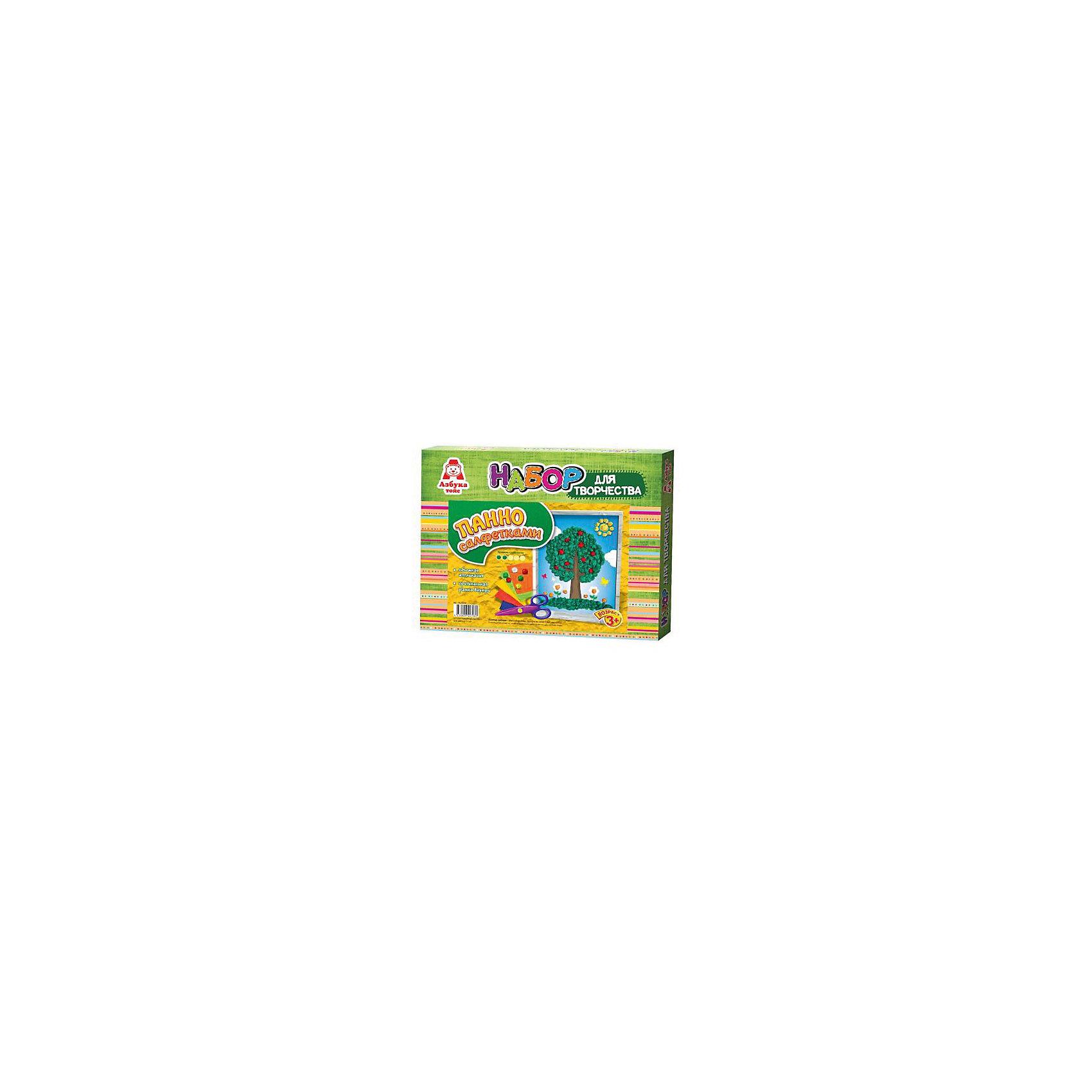 Аппликация салфетками ДеревоРукоделие<br>Аппликация салфетками Дерево<br><br>Характеристики:<br><br>- в набор входит: основа, цветные салфетки, кисть, клей ПВА, рамка<br>- состав: картон, бумага, пластик <br>- формат: 27 * 3 * 22 см.<br>- вес: 116 гр.<br>- для детей в возрасте: от 3 до 6 лет<br>- Страна производитель: Российская Федерация<br><br>Набор для творчества Аппликация салфетками Дерево от компании Азбука тойс понравится маленьким пальчиками и создаст яркое летнее настроение. Пошаговая инструкция подробно описывает процесс выполнения аппликации. Шарики из салфеток клеятся на цветную основу с помощью клея, входящего в комплект. Работа с таким набором развивает моторику ручек, воображение, усидчивость, аккуратность и внимание. Панно из салфеток имеет второй уровень сложности, но его выполнить ничуть не трудно, поэтому ребенок вскоре сможет порадоваться своему небольшому шедевру и, может быть, даже подарить его кому-нибудь. Красивая рамка входит в комплект.<br><br>Аппликацию салфетками Дерево можно купить в нашем интернет-магазине.<br><br>Ширина мм: 270<br>Глубина мм: 30<br>Высота мм: 220<br>Вес г: 116<br>Возраст от месяцев: 36<br>Возраст до месяцев: 84<br>Пол: Унисекс<br>Возраст: Детский<br>SKU: 5062943