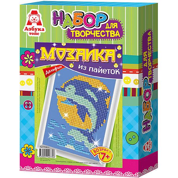 Картина из пайеток ДельфинМозаика детская<br>Картина из пайеток Дельфин.  <br><br>Характеристики:<br><br>• Размеры 28х21х5 см.<br>• В комплект входит:<br>- пенопластовая основа,<br>- цветная схема,<br>- сборная рамка;<br>- пайетки,<br>- пины - гвоздики,<br>- инструкция.<br><br>Пайетки - это блестящие кружочки разного цвета, при помощи которых, можно создавать красивые блестящие картины в виде мозаики Пайетка прикалывается к основе при помощи булавочки-гвоздика. Занятие с набором Мозаика из пайеток развивает творческие способности, воображение, концентрацию внимания, мелкую моторику, аккуратность и усидчивость. Такая картина станет украшением вашего дома или станет прекрасным подарком. Желаем Вам приятной творческой работы!<br><br>Картину из пайеток Дельфин, можно купить в нашем интернет – магазине.<br><br>Ширина мм: 210<br>Глубина мм: 50<br>Высота мм: 280<br>Вес г: 184<br>Возраст от месяцев: 84<br>Возраст до месяцев: 144<br>Пол: Женский<br>Возраст: Детский<br>SKU: 5062970