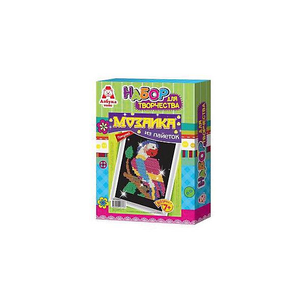 Картина из пайеток ПопугайМозаика детская<br>Картина из пайеток Попугай, Азбука Тойс<br><br>Характеристики:<br><br>• готовой поделкой можно украсить комнату<br>• развивает мелкую моторику, внимательность, усидчивость и аккуратность<br>• в комплекте: основа из пенопласта, схема, сборная рамка, пайетки, гвоздики, инструкция<br>• размер упаковки: 28х5х21 см<br>• вес: 184 грамма<br><br>Создание картин из пайеток - очень увлекательный вид творчества для детей. Он поможет развить усидчивость, мелкую моторику, внимательность и аккуратность. С помощью набора Попугай ребенок сможет создать яркую картину своими руками. Для это нужно приколоть пайетки к основе с помощью специальных гвоздиков. Готовую работу можно поместить в рамочку, входящую в комплект и украсить ею свою комнату.<br><br>Вы можете купить картину из пайеток Попугай, Азбука Тойс в нашем интернет-магазине.<br>Ширина мм: 210; Глубина мм: 50; Высота мм: 280; Вес г: 184; Возраст от месяцев: 84; Возраст до месяцев: 144; Пол: Женский; Возраст: Детский; SKU: 5062973;