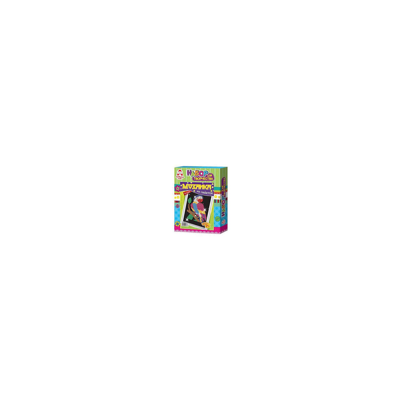 Картина из пайеток ПопугайКартина из пайеток Попугай, Азбука Тойс<br><br>Характеристики:<br><br>• готовой поделкой можно украсить комнату<br>• развивает мелкую моторику, внимательность, усидчивость и аккуратность<br>• в комплекте: основа из пенопласта, схема, сборная рамка, пайетки, гвоздики, инструкция<br>• размер упаковки: 28х5х21 см<br>• вес: 184 грамма<br><br>Создание картин из пайеток - очень увлекательный вид творчества для детей. Он поможет развить усидчивость, мелкую моторику, внимательность и аккуратность. С помощью набора Попугай ребенок сможет создать яркую картину своими руками. Для это нужно приколоть пайетки к основе с помощью специальных гвоздиков. Готовую работу можно поместить в рамочку, входящую в комплект и украсить ею свою комнату.<br><br>Вы можете купить картину из пайеток Попугай, Азбука Тойс в нашем интернет-магазине.<br><br>Ширина мм: 210<br>Глубина мм: 50<br>Высота мм: 280<br>Вес г: 184<br>Возраст от месяцев: 84<br>Возраст до месяцев: 144<br>Пол: Женский<br>Возраст: Детский<br>SKU: 5062973