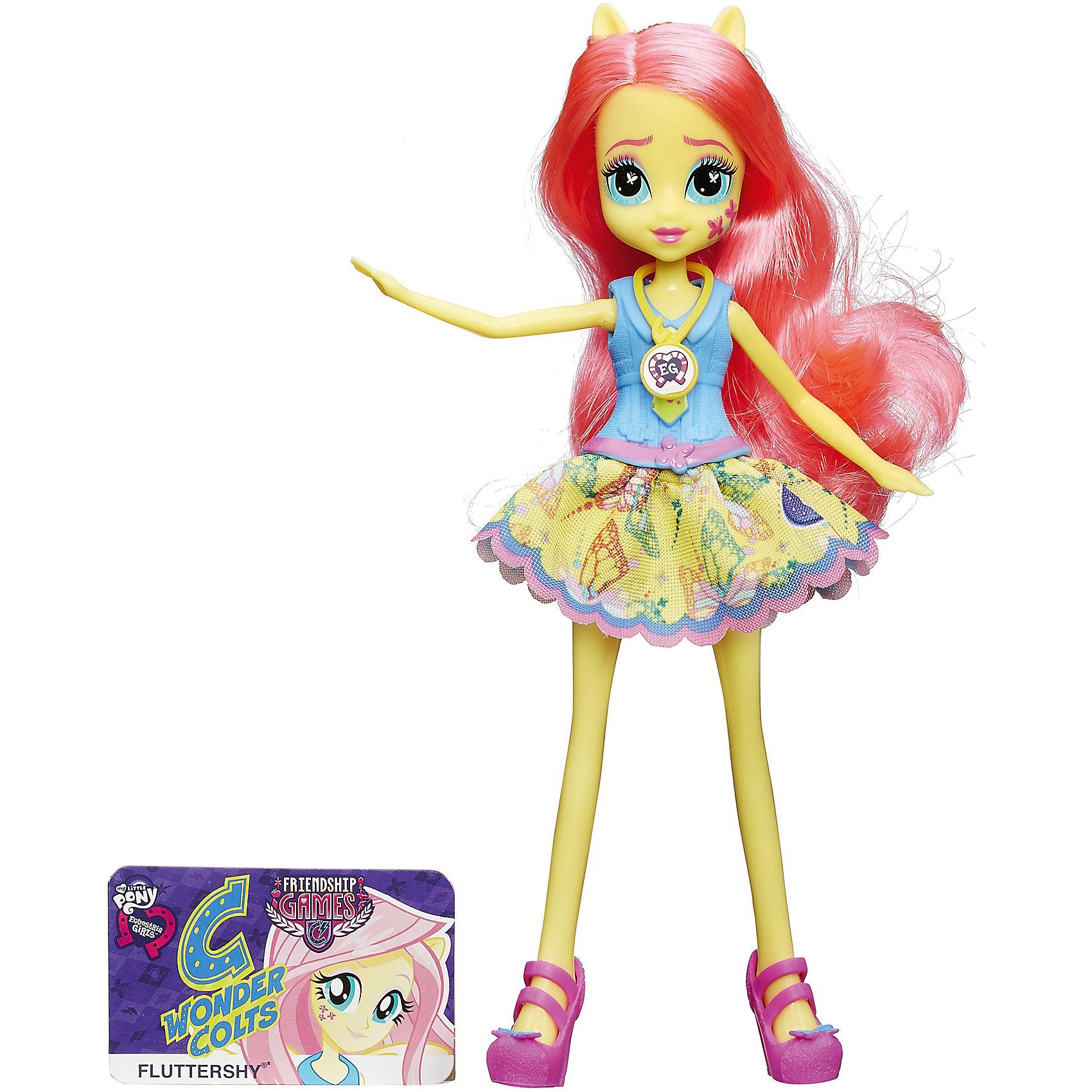 Кукла Вондерколт, Эквестрия Герлз, B1769/B2017Кукла Вондерколт, Эквестрия Герлз (Equestria Girls):<br><br>Характеристики:<br><br>- возраст: от 5 лет<br>- герой: мои маленькие пони / my little pony<br>- пол: для девочек<br>- комплект: кукла, карточка.<br>- материал: пластик, текстиль.<br>- размер упаковки: 5 * 15 * 30 см.<br>- размер игрушки: 22 см.<br>- упаковка: картонная коробка блистерного типа.<br>- страна обладатель бренда: США.<br><br>Кукла Equestria Girls (Эквестрия Герлз) Fluttershy (Флатершай) из коллекции Школьный дух торговой марки представлена в ежедневном образе ученицы школы Кантерлот Хай. Девушка Эквестрии по имени Fluttershy носит очень нарядную и красивую школьную форму. Она состоит из голубой рубашечки с желтым галстуком и из пышной желтой юбки, которая украшена бабочками. Под форму отлично подобраны аккуратные розовые туфли. Все части наряда съемные, верхняя часть выполнена из пластика, а юбка текстильная.<br>У куклы Флатершай Friendship Games двигаются ручки и ножки, шарниры в локтях и коленях отсутствуют. Как и у героини в мультфильме, у этой девушки-пони пышные розовые волосы. Их можно расчесывать, делать прически, чтобы милашка Флатти стала еще красивее.<br>Сюрприз ждет всех тех, у кого на мобильном устройстве есть приложение Equestria Girls. С помощью него можно будет отсканировать специальный штрих-код на медальоне куклы, и тогда в виртуальном мире игры откроются новые возможности. Еще в наборе есть именная карточка куклы.<br><br>Куклу Equestria Girls (Эквестрия Герлз) Fluttershy (Флатершай) торговой марки Hasbro (Хасбо) можно купить в нашем интернет-магазине<br><br>Ширина мм: 150<br>Глубина мм: 300<br>Высота мм: 50<br>Вес г: 500<br>Возраст от месяцев: 60<br>Возраст до месяцев: 144<br>Пол: Женский<br>Возраст: Детский<br>SKU: 5064155