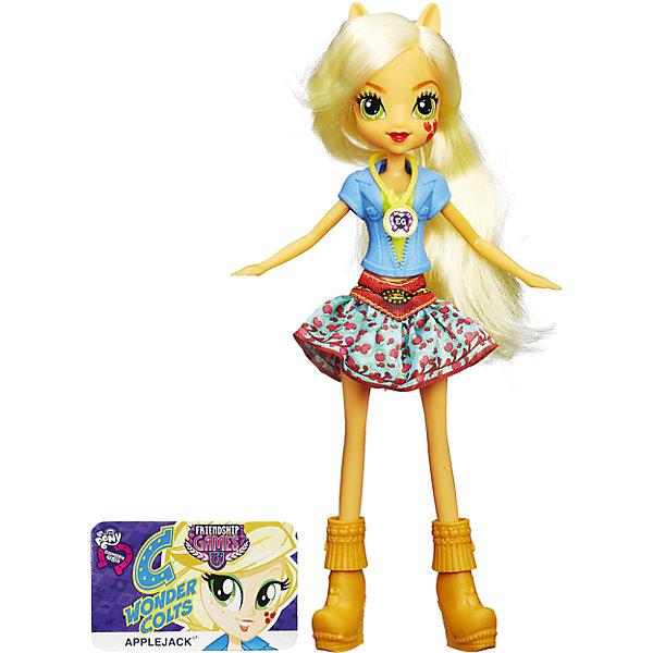 Кукла Вондерколт, Эквестрия Герлз, B1769/B2018Куклы<br>Характеристики куклы Вондерколт, Эквестрия Герлз (Equestria Girls):<br><br>- возраст: от 5 лет<br>- герой: мои маленькие пони / my little pony<br>- пол: для девочек<br>- комплект: кукла, карточка.<br>- материал: пластик, текстиль.<br>- размер упаковки: 5 * 15 * 30 см.<br>- размер игрушки: 22 см.<br>- упаковка: картонная коробка блистерного типа.<br>- страна обладатель бренда: США.<br><br><br>Кукла по имени Эплджек является ученицей Школы Кантерлот и участницей команды Чудо-молнии. В коллекции School Spirit (Школьный дух) кукла Applejack (Эплджек) в опрятной и нарядной школьной форме. Даже на повседневных занятиях Applejack (Эплджек) остается верна своему стилю кантри. Поэтому ее форма имеет элементы ковбойского костюма: джинсовая рубашка, пышная юбка с интересным принтом, а также сапожки с бахромой.<br>Верх наряда куклы Эпплджек Девушки Эквестрии сделан из мягкой пластмассы, он легко снимается, как и другие элементы одежды. Руки и ноги куклы подвижны (не сгибаются), голову можно поворачивать. Играя с этой куклой Эквестрия Герлз, Ваша девочка сможет расчесывать ее шикарные желтые локоны. А если на Вашем мобильном устройстве есть приложение Equestria Girls, то штрих-код на кулоне куклы поможет разблокировать в нем новые возможности.<br><br>Куклу Equestria Girls (Эквестрия Герлз) Applejack (Эплджек) торговой марки Hasbro (Хасбо) можно купить в нашем интернет-магазине.<br><br>Ширина мм: 150<br>Глубина мм: 300<br>Высота мм: 50<br>Вес г: 500<br>Возраст от месяцев: 60<br>Возраст до месяцев: 144<br>Пол: Женский<br>Возраст: Детский<br>SKU: 5064156