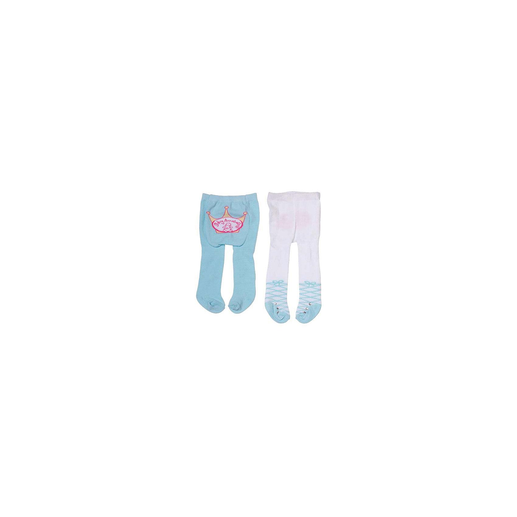 Колготки 2 пары, голубые, Baby AnnabellКукольная одежда и аксессуары<br>Колготки для куклы Baby Annabell, 2 пары.<br><br>Характеристики комплекта Zapf Creation:<br><br>• количество в упаковке: 2 пары;<br>• цвет: голубой и белый с голубым;<br>• декор: логотип Baby Annabell;<br>• особенность колготок: тянутся;<br>• колготки предназначены: для кукол высотой 46 см;<br>• материал: мягкий текстиль;<br>• размер упаковки: 30х1,5х18 см;<br>• вес упаковки: 101 г.<br><br>Колготки 2 пары, голубые, Baby Annabell можно купить в нашем интернет-магазине.<br><br>Ширина мм: 180<br>Глубина мм: 15<br>Высота мм: 300<br>Вес г: 101<br>Возраст от месяцев: 36<br>Возраст до месяцев: 2147483647<br>Пол: Женский<br>Возраст: Детский<br>SKU: 5064299