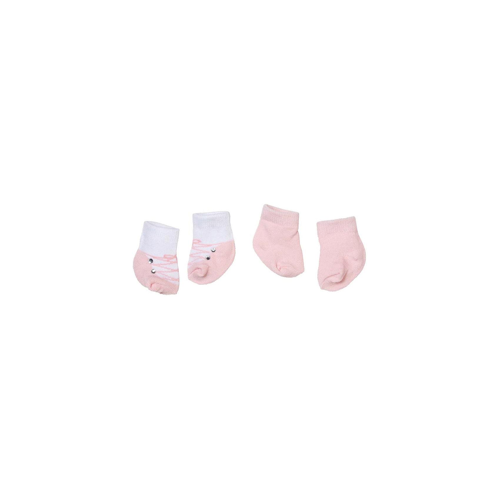 Носочки 2 пары, розовые, Baby AnnabellКукольная одежда и аксессуары<br>Носочки для куклы Baby Annabell, 2 пары.<br><br>Характеристики комплекта Zapf Creation:<br><br>• количество в упаковке: 2 пары;<br>• цвет: розовый и белый с розовым;<br>• особенность носочков: тянутся;<br>• носочки предназначены для кукол высотой 46 см;<br>• материал: мягкий текстиль;<br>• размер упаковки: 18х1х13 см;<br>• вес упаковки: 50 г.<br><br>Носочки 2 пары, розовые, Baby Annabell можно купить в нашем интернет-магазине.<br><br>Ширина мм: 130<br>Глубина мм: 180<br>Высота мм: 10<br>Вес г: 50<br>Возраст от месяцев: 36<br>Возраст до месяцев: 2147483647<br>Пол: Женский<br>Возраст: Детский<br>SKU: 5064301