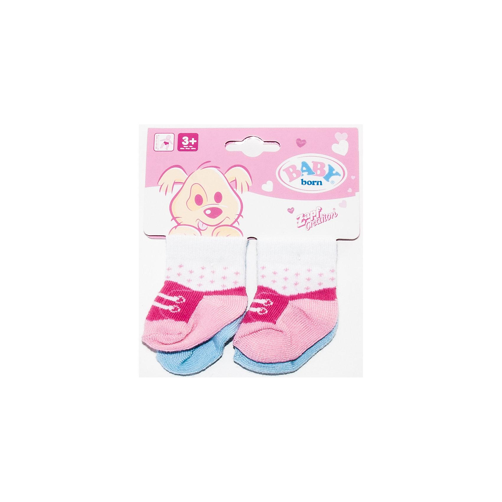 Носки 2 пары, розовые, BABY bornБренды кукол<br>Носки для куклы BABY born, 2 пары.<br><br>Характеристики комплекта Zapf Creation:<br><br>• количество в упаковке: 2 пары;<br>• цвет: розовый;<br>• особенность носочков: тянутся;<br>• носки предназначены для кукол высотой 43 см;<br>• материал: мягкий текстиль;<br>• размер упаковки: 13х1х12 см;<br>• вес упаковки: 36 г;<br>• упаковка: блистер.<br><br>Носки 2 пары, розовые, BABY born можно купить в нашем интернет-магазине.<br><br>Ширина мм: 120<br>Глубина мм: 10<br>Высота мм: 130<br>Вес г: 36<br>Возраст от месяцев: 36<br>Возраст до месяцев: 2147483647<br>Пол: Женский<br>Возраст: Детский<br>SKU: 5064303