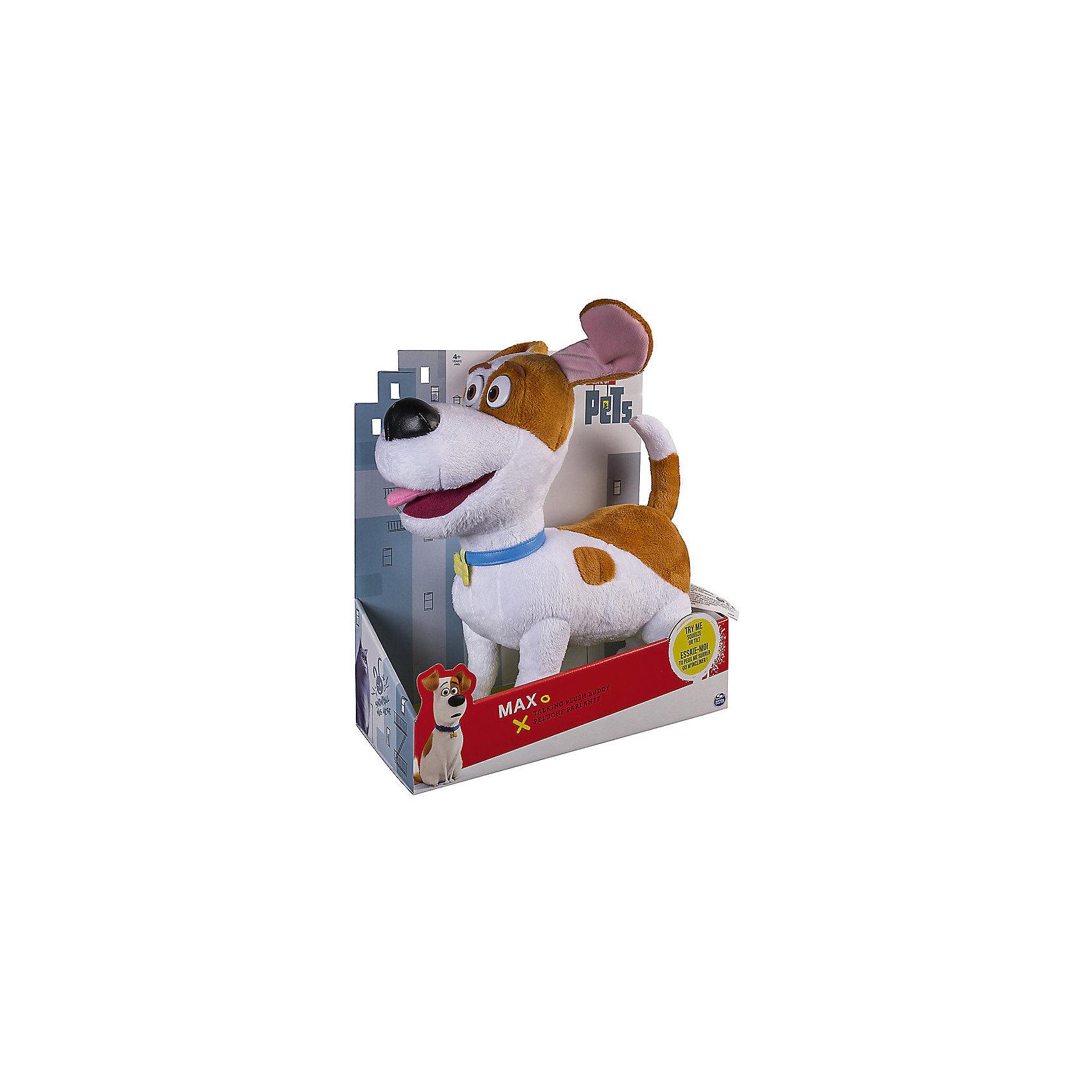 Плюш со звуковыми эффектами Макс, Тайная жизнь домашних животныхКошки и собаки<br>Мягкая игрушка Макс со звуковыми эффектами.<br><br>Характеристики мягкой игрушки Secret Life of Pets:<br><br>• электронная игрушка: работает от батареек;<br>• звуковые эффекты: произносит звуки и фразы из мультфильма «Тайная жизнь домашних животных»;<br>• язык: английский;<br>• высота питомца: 30 см;<br>• материал: плюш, искусственный мех, синтетический наполнитель - синтепон;<br>• батарейки входят в комплект: 3 шт. типа LR44;<br>• размер упаковки: 30х28х14 см;<br>• вес упаковки: 500 г.<br><br>Питомец Макс – заботливый и верный пес. Мультфильм «Тайная жизнь домашних животных» рассказывает о приключениях четвероногих друзей во время отсутствия хозяев. Плюшевый Макс говорит фразы из мультфильма на английском языке. Кнопка для активации звуковых эффектов находится на животе собачки. <br><br>Мягкие игрушки благоприятно влияют на развитие воображения, помогают детям проявлять заботу и внимание по отношению к пушистому другу. <br><br>Плюш со звуковыми эффектами Макс, Тайная жизнь домашних животных можно купить в нашем интернет-магазине.<br><br>Ширина мм: 280<br>Глубина мм: 140<br>Высота мм: 310<br>Вес г: 660<br>Возраст от месяцев: 36<br>Возраст до месяцев: 2147483647<br>Пол: Унисекс<br>Возраст: Детский<br>SKU: 5064314