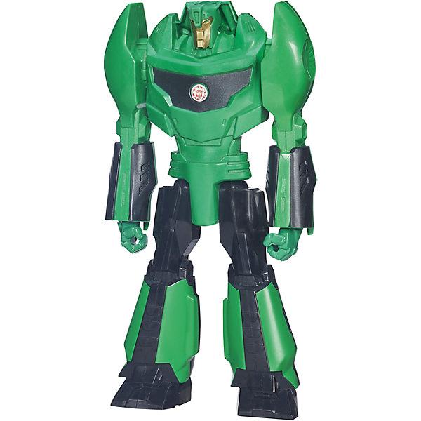 Титан: Роботы под прикрытием, 30 см, Трансформеры, B0760/B4677Трансформеры-игрушки<br>Титанs: Роботы под прикрытием, 30 см, Трансформеры, B0760/B4677.<br><br>Характеристики:<br><br>- В наборе: 1 трансформер<br>- Высота фигурки: 30 см.<br>- Материал: высококачественный пластик<br>- Размер упаковки: 17,5х5х30,5 см.<br><br>Робот-трансформер Гримлок от Hasbro (Хасбро) выполнен по мотивам популярного мультфильма «Роботы под прикрытием». Это очень качественная, тщательно детализированная коллекционная фигурка, которая и с точностью копирует персонажа мультфильма. У робота подвижны руки и ноги. Гримлок не трансформируется в машинку, его главная особенность заключается в том, что на груди робота расположен QR-код. Отсканировав код, вы получите множество дополнительных функций и вариантов игры в бесплатном приложении Hasbro Robots in Disguise для смартфонов и планшетов. Игрушка выполнена из высококачественного пластика и покрыта красками на водной основе. С такой замечательной фигуркой ваш ребенок будет увлеченно играть, придумывая новые истории, совершая невероятные миссии, попадая в захватывающие приключения!<br><br>Фигурку Титан: Роботы под прикрытием, 30 см, Трансформеры, B0760/B4677 можно купить в нашем интернет-магазине.<br>Ширина мм: 49; Глубина мм: 172; Высота мм: 800; Вес г: 424; Возраст от месяцев: 48; Возраст до месяцев: 144; Пол: Мужской; Возраст: Детский; SKU: 5064673;