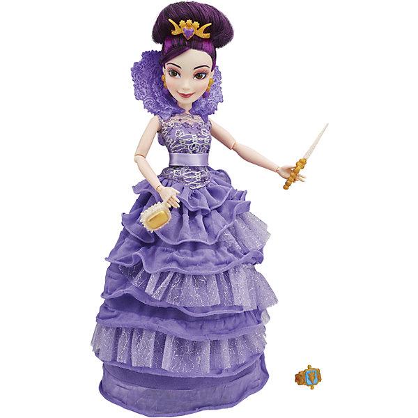 Кукла Мел в платье для коронации, Наследники, DisneyИгрушки<br>Темные герои в платьях для коронации, Наследники, Disney, B3120/B3121.<br><br>Характеристики:<br><br>- В наборе: 1 кукла в платье для коронации, тиара, скипетр, сумочка, кольцо для девочки<br>- Высота куклы: 27,5 см.<br>- Материал: высококачественный пластик, текстиль<br><br>Замечательная кукла Мел станет приятным подарком для девочки - поклонницы мультфильма «Наследники». Кукла выполнена с соблюдением внешних особенностей диснеевской героини Мел, дочери Малефисенты и одета в праздничное вечернее платье для коронации. В наряде Мел преобладает сиреневый цвет. На ней длинное платье с пышной юбкой и высоким воротником. На ногах - золотые босоножки, а в руках скипетр и стильная сумочка. У куклы красивые густые волосы фиолетового цвета, которые можно заплетать в различные косы или укладывать в прически. Волосы уложены в высокую прическу, на голове красуется тиара. Насыщенный макияж Мел подчеркивает выразительность глаз, а длинные нарисованные реснички делают взгляд проницательным и ярким. А еще вашу малышку ждет приятный сюрприз - в набор входит золотистое колечко с гербом, которое она сможет носить на своей руке. Кукла имеет шарнирное соединение в 11 точках артикуляции, и может принимать любую позу. Игрушка выполнена из качественных, нетоксичных материалов, сертифицированных для производства детских товаров. Используемые красители безопасны для ребёнка.<br><br>Набор Темные герои в платьях для коронации, Наследники, Disney, B3120/B3121 можно купить в нашем интернет-магазине.<br><br>Ширина мм: 63<br>Глубина мм: 252<br>Высота мм: 330<br>Вес г: 400<br>Возраст от месяцев: 72<br>Возраст до месяцев: 168<br>Пол: Женский<br>Возраст: Детский<br>SKU: 5064675