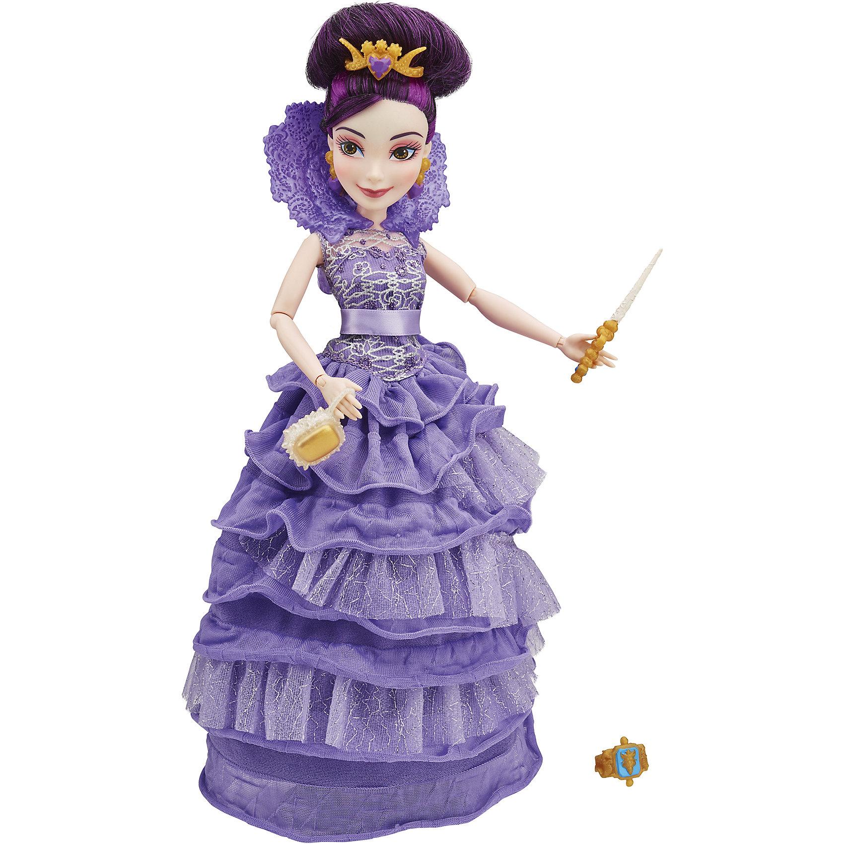 Кукла Мел в платье для коронации, Наследники, DisneyИгрушки<br>Темные герои в платьях для коронации, Наследники, Disney, B3120/B3121.<br><br>Характеристики:<br><br>- В наборе: 1 кукла в платье для коронации, тиара, скипетр, сумочка, кольцо для девочки<br>- Высота куклы: 27,5 см.<br>- Материал: высококачественный пластик, текстиль<br><br>Замечательная кукла Мел станет приятным подарком для девочки - поклонницы мультфильма «Наследники». Кукла выполнена с соблюдением внешних особенностей диснеевской героини Мел, дочери Малефисенты и одета в праздничное вечернее платье для коронации. В наряде Мел преобладает сиреневый цвет. На ней длинное платье с пышной юбкой и высоким воротником. На ногах - золотые босоножки, а в руках скипетр и стильная сумочка. У куклы красивые густые волосы фиолетового цвета, которые можно заплетать в различные косы или укладывать в прически. Волосы уложены в высокую прическу, на голове красуется тиара. Насыщенный макияж Мел подчеркивает выразительность глаз, а длинные нарисованные реснички делают взгляд проницательным и ярким. А еще вашу малышку ждет приятный сюрприз - в набор входит золотистое колечко с гербом, которое она сможет носить на своей руке. Кукла имеет шарнирное соединение в 11 точках артикуляции, и может принимать любую позу. Игрушка выполнена из качественных, нетоксичных материалов, сертифицированных для производства детских товаров. Используемые красители безопасны для ребёнка.<br><br>Набор Темные герои в платьях для коронации, Наследники, Disney, B3120/B3121 можно купить в нашем интернет-магазине.<br><br>Ширина мм: 63<br>Глубина мм: 252<br>Высота мм: 1750<br>Вес г: 399<br>Возраст от месяцев: 72<br>Возраст до месяцев: 168<br>Пол: Женский<br>Возраст: Детский<br>SKU: 5064675