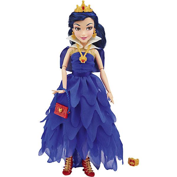 Кукла Иви, Темные герои в платьях для коронации, Наследники, DisneyИгрушки<br>Темные герои в платьях для коронации, Наследники, Disney, B3120/B3122.<br><br>Характеристики:<br><br>- В наборе: 1 кукла в платье для коронации, корона, украшение, сумочка, кольцо для девочки<br>- Высота куклы: 27,5 см.<br>- Материал: высококачественный пластик, текстиль<br><br>Замечательная кукла Иви станет приятным подарком для девочки - поклонницы мультфильма «Наследники». Кукла выполнена с соблюдением внешних особенностей диснеевской героини Иви, дочери Злой королевы и одета в праздничное вечернее платье для коронации. В наряде Иви преобладает синий цвет. На ней нарядное платье из легкой ткани, накидка, украшение на шее. На ногах - яркие красные босоножки, а в руках стильная ярко-красная сумочка с синим ремешком. У куклы красивые густые волосы темно-синего цвета, которые можно расчесывать и заплетать. Волосы уложены в прическу, на голове красуется корона. Насыщенный макияж Иви подчеркивает выразительность глаз, а длинные нарисованные реснички делают взгляд проницательным и ярким. А еще вашу малышку ждет приятный сюрприз - в набор входит золотистое колечко с гербом, которое она сможет носить на своей руке. Кукла имеет шарнирное соединение в 11 точках артикуляции, и может принимать любую позу. Игрушка выполнена из качественных, нетоксичных материалов, сертифицированных для производства детских товаров. Используемые красители безопасны для ребёнка.<br><br>Набор Темные герои в платьях для коронации, Наследники, Disney, B3120/B3122 можно купить в нашем интернет-магазине.<br>Ширина мм: 63; Глубина мм: 252; Высота мм: 330; Вес г: 400; Возраст от месяцев: 72; Возраст до месяцев: 168; Пол: Женский; Возраст: Детский; SKU: 5064676;