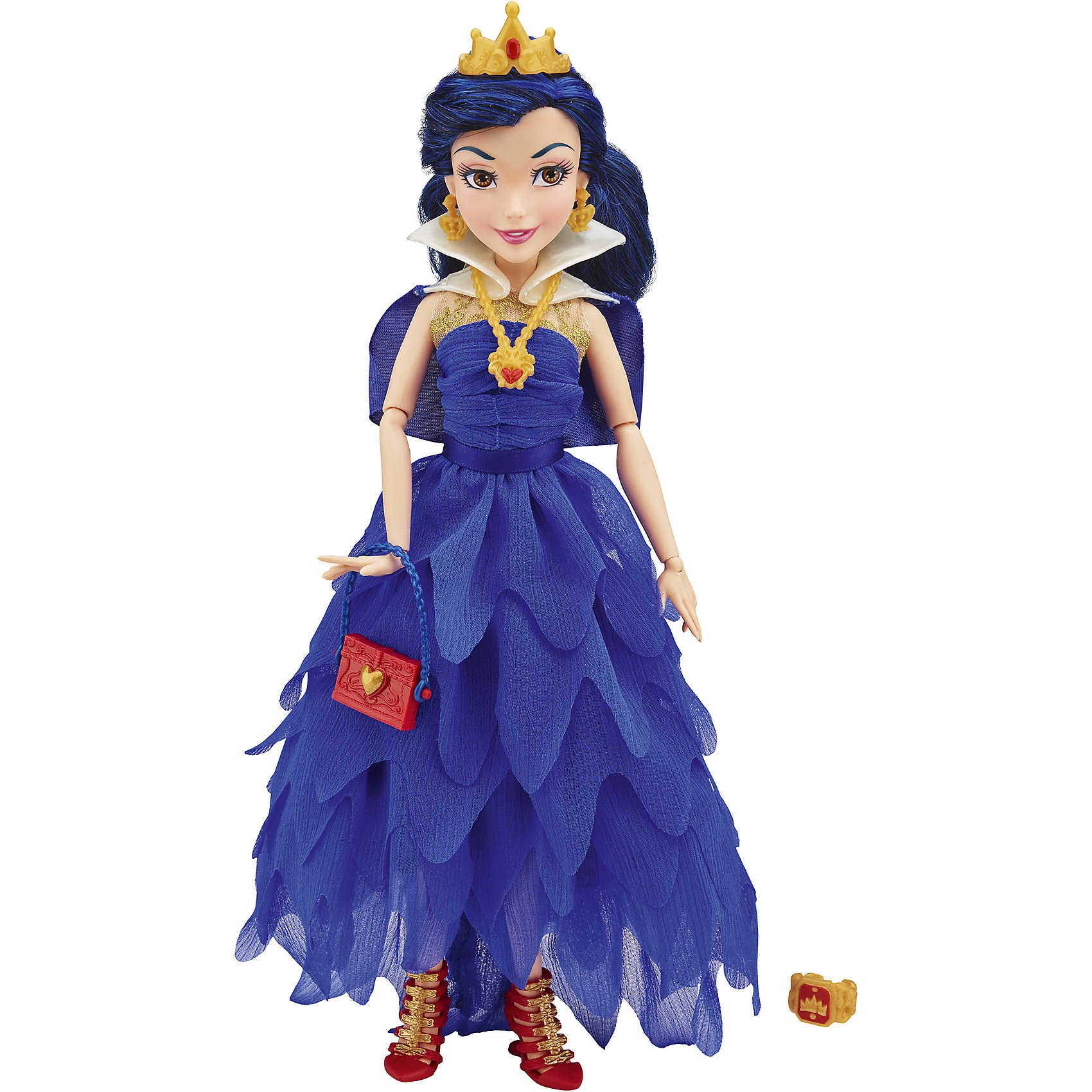 Кукла Иви, Темные герои в платьях для коронации, Наследники, DisneyИгрушки<br>Темные герои в платьях для коронации, Наследники, Disney, B3120/B3122.<br><br>Характеристики:<br><br>- В наборе: 1 кукла в платье для коронации, корона, украшение, сумочка, кольцо для девочки<br>- Высота куклы: 27,5 см.<br>- Материал: высококачественный пластик, текстиль<br><br>Замечательная кукла Иви станет приятным подарком для девочки - поклонницы мультфильма «Наследники». Кукла выполнена с соблюдением внешних особенностей диснеевской героини Иви, дочери Злой королевы и одета в праздничное вечернее платье для коронации. В наряде Иви преобладает синий цвет. На ней нарядное платье из легкой ткани, накидка, украшение на шее. На ногах - яркие красные босоножки, а в руках стильная ярко-красная сумочка с синим ремешком. У куклы красивые густые волосы темно-синего цвета, которые можно расчесывать и заплетать. Волосы уложены в прическу, на голове красуется корона. Насыщенный макияж Иви подчеркивает выразительность глаз, а длинные нарисованные реснички делают взгляд проницательным и ярким. А еще вашу малышку ждет приятный сюрприз - в набор входит золотистое колечко с гербом, которое она сможет носить на своей руке. Кукла имеет шарнирное соединение в 11 точках артикуляции, и может принимать любую позу. Игрушка выполнена из качественных, нетоксичных материалов, сертифицированных для производства детских товаров. Используемые красители безопасны для ребёнка.<br><br>Набор Темные герои в платьях для коронации, Наследники, Disney, B3120/B3122 можно купить в нашем интернет-магазине.<br><br>Ширина мм: 63<br>Глубина мм: 252<br>Высота мм: 1750<br>Вес г: 399<br>Возраст от месяцев: 72<br>Возраст до месяцев: 168<br>Пол: Женский<br>Возраст: Детский<br>SKU: 5064676