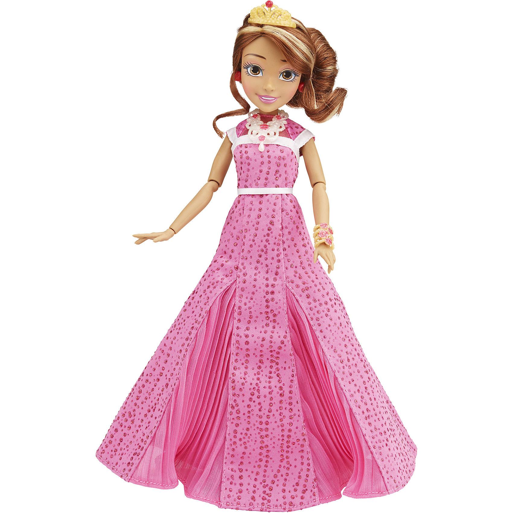 Кукла Одри, светлые герои в платьях для коронации, Наследники, Disney, B3123/B3124Игрушки<br>Светлые герои в платьях для коронации, Наследники, Disney, B3123/B3124.<br><br>Характеристики:<br><br>- В наборе: 1 кукла в платье для коронации, диадема, браслет, сумочка, кольцо для девочки<br>- Высота куклы: 27,5 см.<br>- Материал: высококачественный пластик, текстиль<br><br>Замечательная кукла Одри станет приятным подарком для девочки - поклонницы мультфильма «Наследники». Кукла выполнена с соблюдением внешних особенностей диснеевской героини Одри, дочери Авроры и Принца Филлипа, и одета в праздничное платье для коронации. На ней длинное розовое платье. На ногах - серебристые босоножки с нарисованной ласточкой, которые сочетаются с сумочкой. На руке - красивый браслет. У куклы красивые густые волосы, которые можно расчесывать и заплетать. Волосы уложены в прическу, на голове красуется диадема. Макияж Одри подчеркивает выразительность глаз, а длинные нарисованные реснички делают взгляд проницательным и ярким. А еще вашу малышку ждет приятный сюрприз - в набор входит золотистое колечко с гербом, которое она сможет носить на своей руке. Кукла имеет шарнирное соединение в 11 точках артикуляции, и может принимать любую позу. Игрушка выполнена из качественных, нетоксичных материалов, сертифицированных для производства детских товаров. Используемые красители безопасны для ребёнка.<br><br>Набор Светлые герои в платьях для коронации, Наследники, Disney, B3123/B3124 можно купить в нашем интернет-магазине.<br><br>Ширина мм: 63<br>Глубина мм: 253<br>Высота мм: 1750<br>Вес г: 393<br>Возраст от месяцев: 72<br>Возраст до месяцев: 168<br>Пол: Женский<br>Возраст: Детский<br>SKU: 5064677