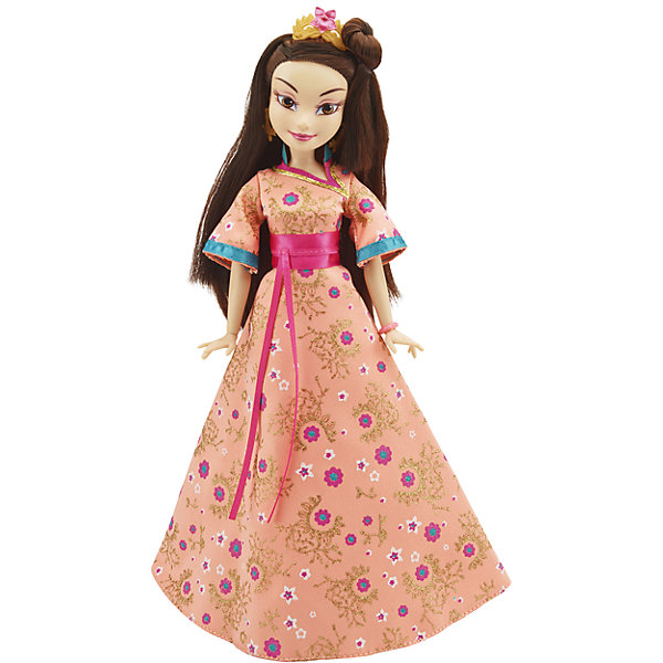 Кукла Лони, светлые герои в платьях для коронации, Наследники, DisneyИгрушки<br>Светлые герои в платьях для коронации, Наследники, Disney, B3123/B3126.<br><br>Характеристики:<br><br>- В наборе: 1 кукла в платье для коронации, диадема, браслет, сумочка, кольцо для девочки<br>- Высота куклы: 27,5 см.<br>- Материал: высококачественный пластик, текстиль<br><br>Замечательная кукла Лони станет приятным подарком для девочки - поклонницы мультфильма «Наследники». Кукла выполнена с соблюдением внешних особенностей диснеевской героини Лони из Аурадона, дочери Фа Мулан и Ли Шанга, и одета в праздничное платье для коронации. На ней пышное шелковое платье в восточном стиле с цветочными узорами. На ногах - золотистые с синим туфельки, которые сочетаются с сумочкой. Образ куклы дополнен диадемой и браслетом, а платье украшено шикарным атласным розовым поясом. У куклы красивые густые волосы, которые можно расчесывать и заплетать. Макияж Лони подчеркивает выразительность глаз, а длинные нарисованные реснички делают взгляд проницательным и ярким. А еще вашу малышку ждет приятный сюрприз - в набор входит золотистое колечко с гербом, которое она сможет носить на своей руке. Кукла имеет шарнирное соединение в 11 точках артикуляции, и может принимать любую позу. Игрушка выполнена из качественных, нетоксичных материалов, сертифицированных для производства детских товаров. Используемые красители безопасны для ребёнка.<br><br>Набор Светлые герои в платьях для коронации, Наследники, Disney, B3123/B3126 можно купить в нашем интернет-магазине.<br>Ширина мм: 63; Глубина мм: 253; Высота мм: 330; Вес г: 393; Возраст от месяцев: 72; Возраст до месяцев: 168; Пол: Женский; Возраст: Детский; SKU: 5064679;