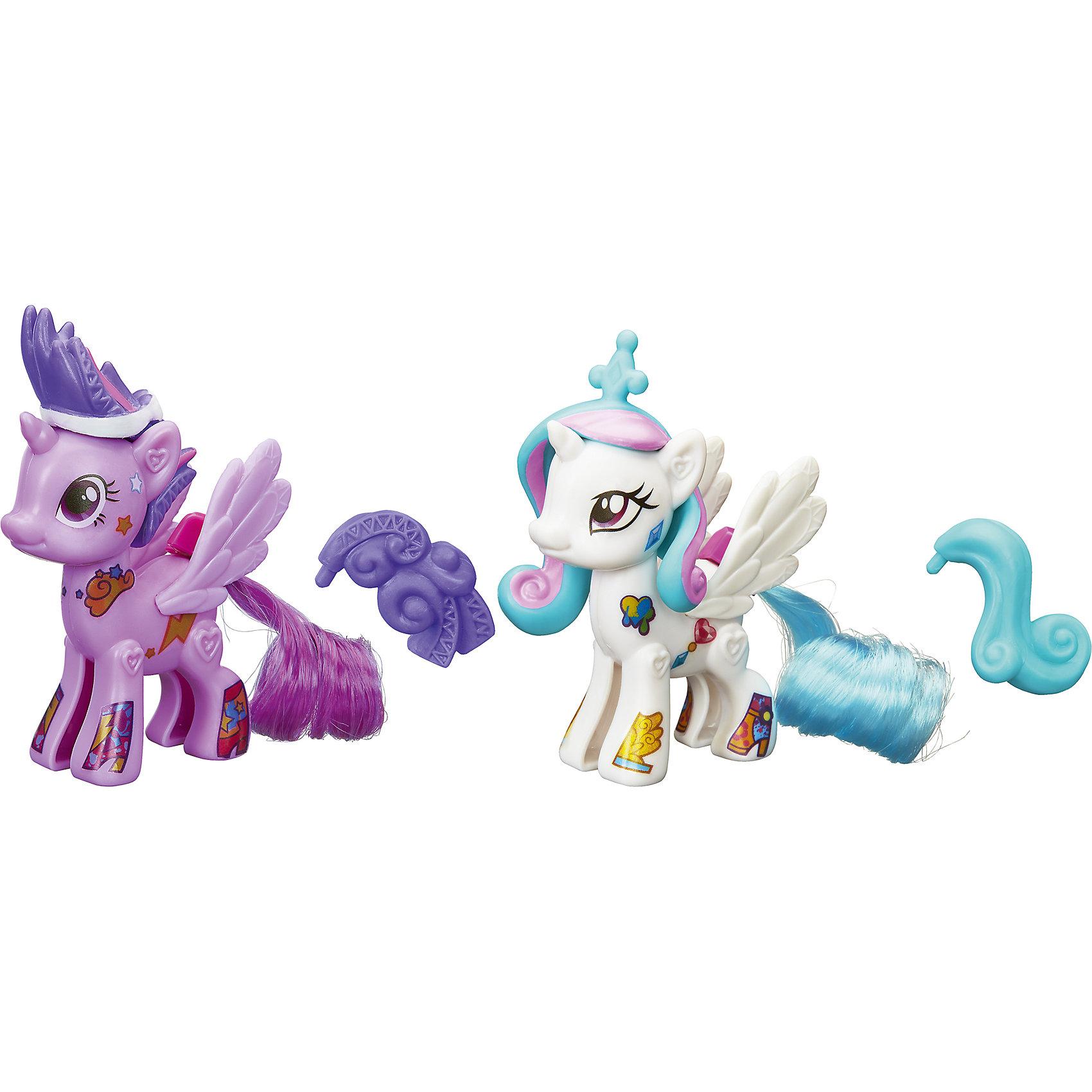 Сумеречная Искорка и Селестия, стильные пони Создай свою пони, My little Pony, B3589/B4971Стильные пони Создай свою пони, My little Pony, B3589/B4971.<br><br>Характеристики:<br><br>- В наборе: две фигурки пони (каждая из двух половинок) Селестия и Сумеречная Искорка, две пары красивых резных крыльев, две пряди, две пластмассовые гривы, два пластмассовых хвоста, наклейки<br>- Можно комбинировать с другими наборами серии<br>- Материал: высококачественная пластмасса<br>- Размер упаковки: 21x14x2,5 см.<br><br>Игровой набор Создай свою пони станет приятным подарком для девочки - поклонницы мультсериала Моя маленькая пони. Дружба - это чудо!. Малышка сможет самостоятельно соединить две части пони вместе и создать неповторимый образ для принцессы Селестии и Сумеречной Искорки, подобрав гриву, хвостик и крылышки для своих любимиц. Игрушки выполнены из высококачественной пластмассы и имеют поразительное сходство с героями мультсериала. Игровой набор позволит придумать множество разных сюжетных линий, историй и развить фантазию и мелкую моторику. Фигурки отлично впишутся в коллекцию девочки и подарят ей множество положительных эмоций. Детали набора можно комбинировать с элементами из других наборов Создай свою пони.<br><br>Набор Стильные пони Создай свою пони, My little Pony, B3589/B4971 можно купить в нашем интернет-магазине.<br><br>Ширина мм: 25<br>Глубина мм: 140<br>Высота мм: 490<br>Вес г: 180<br>Возраст от месяцев: 48<br>Возраст до месяцев: 144<br>Пол: Женский<br>Возраст: Детский<br>SKU: 5064681
