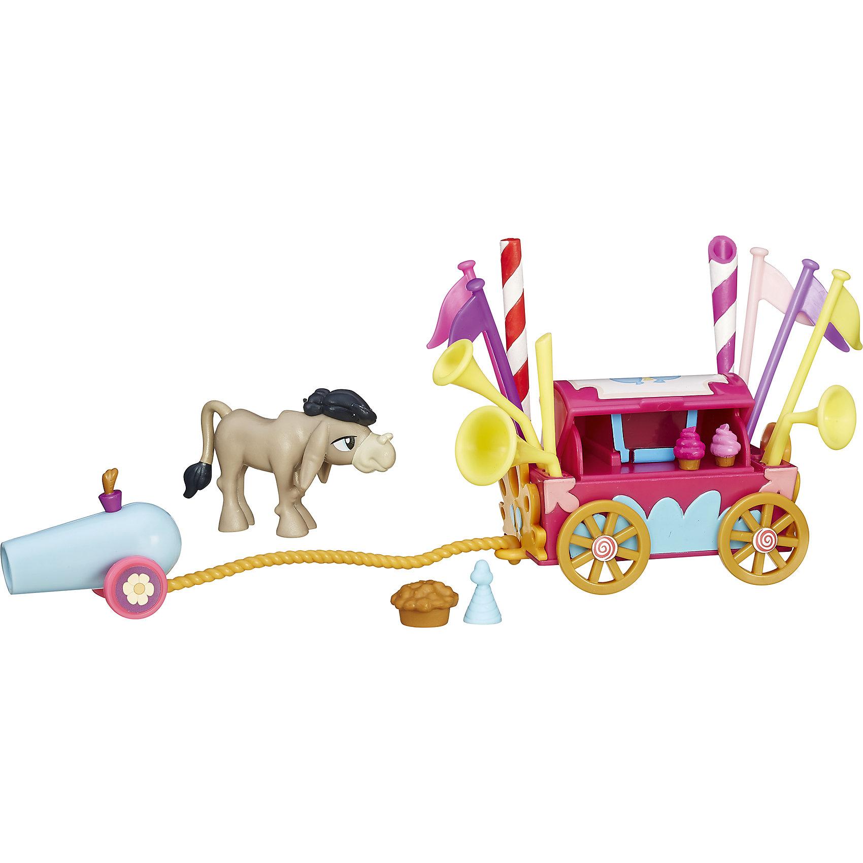 Коллекционный игровой мини-набор пони Крэнки Дудл, My little Pony, B3597/B5567Игрушки<br>Коллекционный игровой мини-набор пони, My little Pony, B3597/B5567.<br><br>Характеристики:<br><br>- В наборе: фигурка осла Кренки Дудла, тележка, пушка, аксессуары<br>- Размер фигурки осла: около 5 см.<br>- Материал: высококачественная пластмасса<br>- Размер упаковки: 20x16.5x6 см.<br><br>Коллекционный набор c фигуркой Крэнки Дудла от Hasbro (Хасбро) станет приятным подарком для девочки - поклонницы мультсериала Моя маленькая пони. Дружба - это чудо!. Персонаж по имени Кренки Дудл сыграл заметную роль в 5 сезоне мультсериала, ведь он подружился со всеми героями и нашел любовь всей своей жизни. Фигурка Кренки Дудла с тележкой, в которой есть вкусное мороженое, разноцветные шесты и флаги, трубы, выпечка, праздничные колпачки и даже пушка для конфетти позволит придумать множество разных сюжетных линий и историй. Набор выполнен из высококачественной пластмассы, безопасен для детей.<br><br>Коллекционный игровой мини-набор пони, My little Pony, B3597/B5567 можно купить в нашем интернет-магазине.<br><br>Ширина мм: 206<br>Глубина мм: 167<br>Высота мм: 600<br>Вес г: 132<br>Возраст от месяцев: 48<br>Возраст до месяцев: 72<br>Пол: Женский<br>Возраст: Детский<br>SKU: 5064686