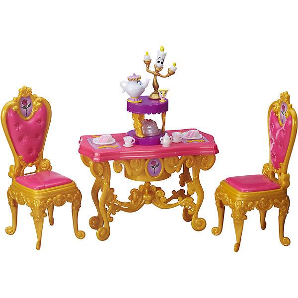 Игровой набор для ужина Белль, Принцессы Дисней, B5309/B5310Мебель для кукол<br>Игровой набор, Принцессы Дисней, B5309/B5310.<br><br>Характеристики:<br><br>- В наборе: фигурка Миссис Поттс; фигурка Чипа; фигурка Люмьера; стол; 2 стула; набор для чаепития; угощения, столовые приборы; сахарница<br>- Кукла не входит в комплект<br>- Материал: высококачественный пластик<br>- Размер упаковки: 8,1х30,5х25,4 см.<br>- Вес упаковки: 543 г.<br><br>Яркий гламурный набор для ужина красавицы-принцессы Белль из мультфильма Диснея Красавица и чудовище позволит вашей малышке воссоздать любимые моменты из мультфильма и подарит много интересных игровых минут девочке и ее друзьям. Набор для праздничного ужина позволит детям устроить незабываемое чаепитие с волшебными друзьями красавицы-принцессы - Миссис Поттс, Чипом и Люмьером. В наборе есть обеденный стол, стулья, набор для чаепития, угощенья и столовые приборы. Для полного веселья крышка стола поднимается, открывая для всех праздничный торт! Все элементы набора изготовлены из высококачественного пластика.<br><br>Игровой набор, Принцессы Дисней, B5309/B5310 можно купить в нашем интернет-магазине.<br>Ширина мм: 80; Глубина мм: 305; Высота мм: 250; Вес г: 481; Возраст от месяцев: 36; Возраст до месяцев: 144; Пол: Женский; Возраст: Детский; SKU: 5064701;