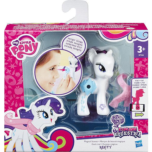 Пони Рарити с волшебными картинками, My little Pony, B5361/B7260Игрушки<br>Пони с волшебными картинками, My little Pony, B5361/B7260.<br><br>Характеристики:<br><br>- В наборе: пони, аксессуар<br>- Материал: игрушка изготовлена из пластика, грива и хвостик – текстильные<br>- Высота фигурки: 8 см.<br><br>Играть с милыми пони стало еще интереснее! Главная особенность пони Рарити – это линза, расположенная на боку пони, сквозь которую видно картинку с изображением сценки из мультфильма Дружба - это чудо. На передней ножке лошадки Вы найдете код в виде сердечка, отсканировав который при помощи мобильного устройства, Вы получите дополнительные игровые возможности в бесплатном приложении My Little Pony Friendship Celebration. Голова фигурки поворачивается. Гриву и хвост пони малышка сможет расчесывать и создавать различные прически. В комплекте с фигуркой также идет стильный шарфик. Игры с такой игрушкой способствуют развитию у ребенка фантазии и любознательности, помогут овладеть навыками общения, воспитают чувство ответственности и заботы. Благодаря маленькому размеру фигурки малышка сможет взять ее с собой на прогулку или в гости.<br> <br>Игровой набор Пони с волшебными картинками, My little Pony, B5361/B7260 можно купить в нашем интернет-магазине.<br>Ширина мм: 87; Глубина мм: 178; Высота мм: 550; Вес г: 160; Возраст от месяцев: 36; Возраст до месяцев: 72; Пол: Женский; Возраст: Детский; SKU: 5064709;