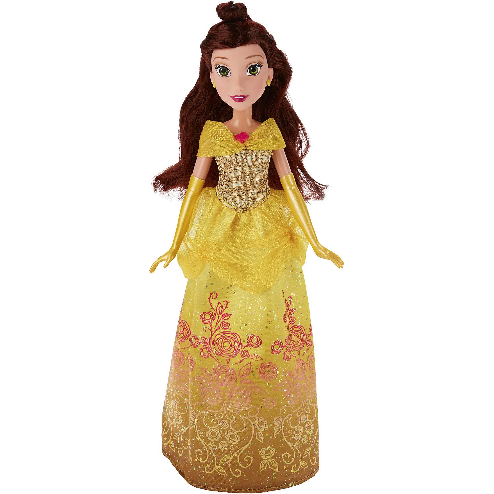 Классическая модная кукла Принцесса Белль, B6446/B5287Классическая модная кукла Принцесса, B6446/B5287.<br><br>Характеристики:<br><br>- Материал: пластмасса, текстиль.<br>- Высота куклы: 28 см.<br>- Размер упаковки: 15х5х36 см.<br><br>Симпатичная кукла представлена в образе прекрасной принцессы Disney по имени Белль из мультипликационного сериала Красавица и чудовище. Она одета в нарядное золотистое платье. Мерцание блеска, витиеватые узоры в виде цветов, изящные длинные перчатки и аккуратные желтые туфли — все это делает образ диснеевской принцессы нежным, но в то же время нарядным. Юное личико Белль охвачено легким румянцем, легкий макияж подчеркивает и без того яркие глаза и губы Белль, а удивленное выражение придает образу озорства и легкости. У куклы невероятно красивые темные волосы, которые можно расчесывать и заплетать. Подвижные ручки, ножки и голова позволяют кукле принимать множество реалистичных поз. Очаровательная детализированная кукла приведет в восторг вашу малышку и отлично дополнит ее коллекцию диснеевских принцесс.<br><br>Классическую модную куклу Принцесса, B6446/B5287 можно купить в нашем интернет-магазине.<br><br>Ширина мм: 51<br>Глубина мм: 152<br>Высота мм: 860<br>Вес г: 215<br>Возраст от месяцев: 36<br>Возраст до месяцев: 144<br>Пол: Женский<br>Возраст: Детский<br>SKU: 5064734