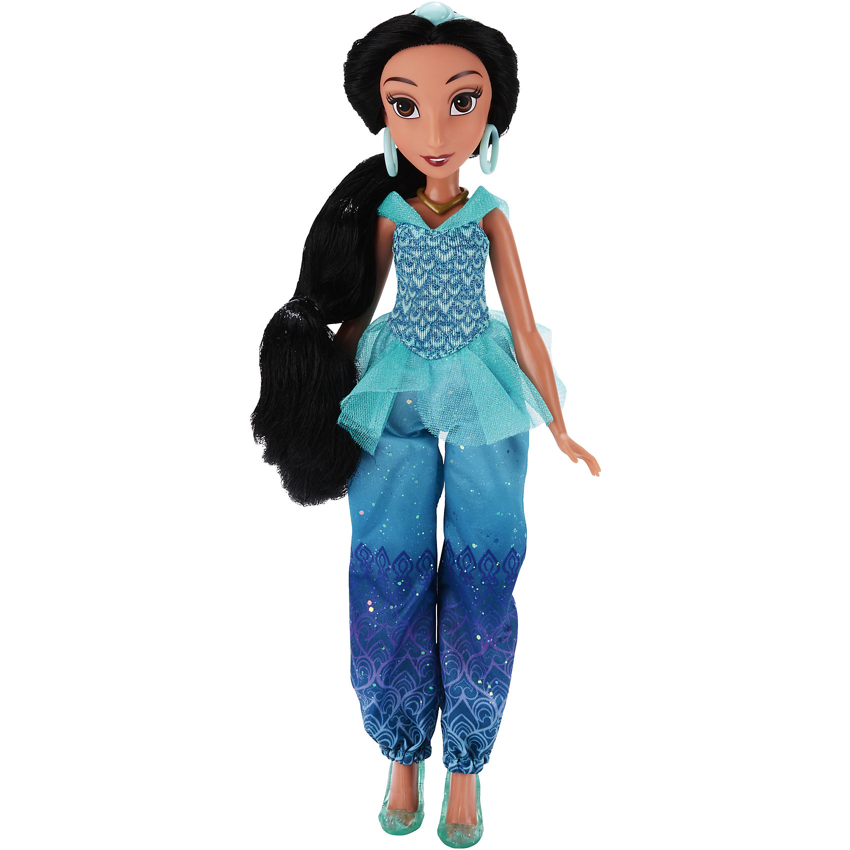 Кукла Принцесса Жасмин, Принцессы Дисней, B6447/B5826Игрушки<br>Кукла Принцесса, Принцессы Дисней, B6447/B5826.<br><br>Характеристики:<br><br>- Материал: пластмасса, текстиль.<br>- Высота куклы: 28 см.<br>- Размер упаковки: 15х5х36 см.<br><br>Симпатичная кукла представлена в образе прекрасной принцессы Disney Жасмин из мультипликационного сериала Алладин. Она одета в стильный наряд, состоящий из объемных брюк и легкой кофточки с шифоновыми вставками. Восточная красавица очень любит украшения. Ее шею украшает золотистое колье, а в ушах — яркие сережки-кольца. На ногах куколки легкие балетки, которые делают образ невероятно нежным. Естественный макияж куклы подчеркивает ее природную красоту. Невероятно красивые темные волосы принцессы можно расчесывать и заплетать. Подвижные ручки, ножки и голова позволяют Жасмин принимать множество реалистичных поз. Очаровательная детализированная кукла приведет в восторг вашу малышку и отлично дополнит ее коллекцию диснеевских принцесс.<br><br>Куклу Принцесса, Принцессы Дисней, B6447/B5826 можно купить в нашем интернет-магазине.<br><br>Ширина мм: 51<br>Глубина мм: 152<br>Высота мм: 860<br>Вес г: 144<br>Возраст от месяцев: 36<br>Возраст до месяцев: 144<br>Пол: Женский<br>Возраст: Детский<br>SKU: 5064739