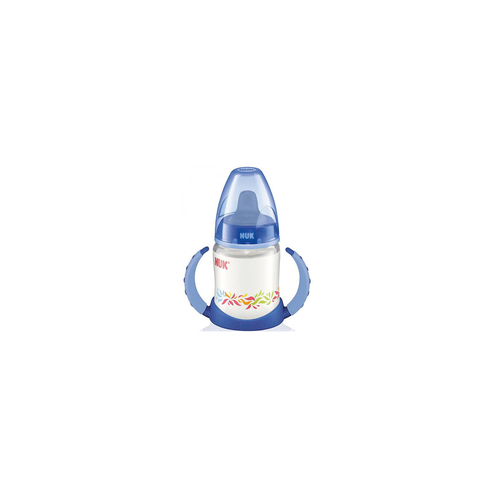 Бутылочка First Choice, 150 мл., NUK, синийХарактеристики изделия:<br><br>- объем: 150 мл;<br>- цвет: разноцветный;<br>- материал: латекс, полипропилен;<br>- широкое горло;<br>- размер соски: 1, S.<br><br>Детские товары существенно облегчают жизнь молодым мамам. Но существует множество необходимых вещей для материнства. К таким относится обыкновенная пластиковая бутылочка для вскармливания младенца. <br>Данная модель оптимально подходит для детей на смешанном вскармливании. Мягкий материал соски подойдет для самых маленьких. Есть 2 вида соски. Бутылочка легко очищается от любых поверхностных загрязнений, так как имеет удобное широкое горлышко. Оптимальный объем позволит использовать бутылочку для малышей от 0 до шести месяцев.<br><br>Бутылочку First Choice от производителя NUK можно купить в нашем магазине.<br><br>Ширина мм: 120<br>Глубина мм: 65<br>Высота мм: 185<br>Вес г: 133<br>Возраст от месяцев: 0<br>Возраст до месяцев: 6<br>Пол: Унисекс<br>Возраст: Детский<br>SKU: 5065238
