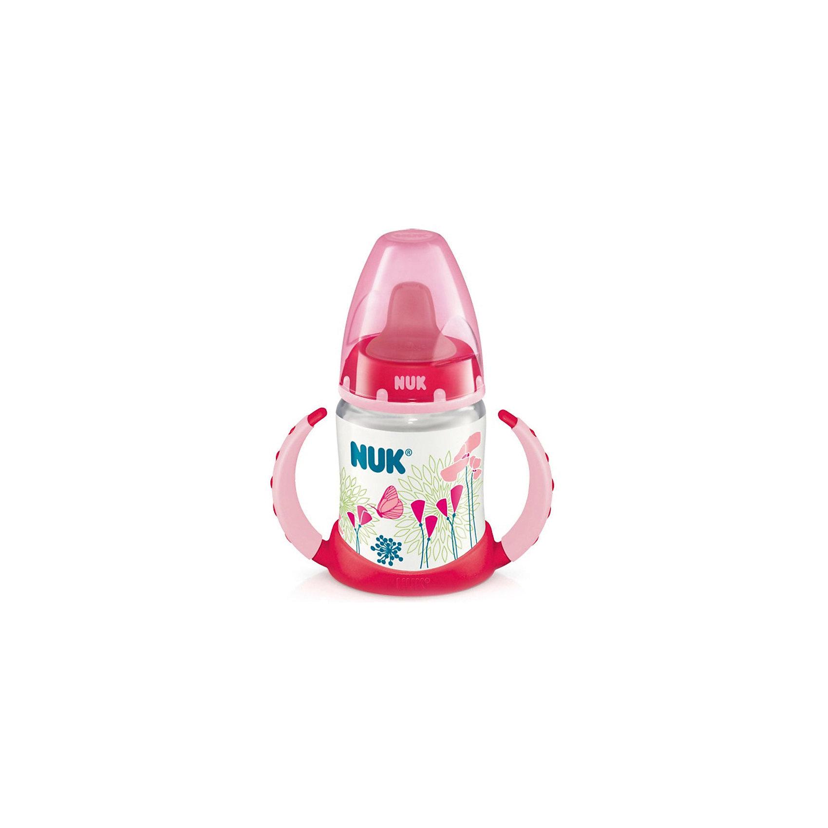 Бутылочка First Choice-поильник пласт. 150 мл., NUK, розовыйХарактеристики изделия:<br><br>- объем: 150 мл;<br>- цвет: розовый;<br>- материал: силикон, пластик;<br>- широкое горло;<br>- нескользящие ручки эргономичной формы;<br>- система NUK Air System;<br>- возраст: 6-18 месяцев.<br><br>Детские товары существенно облегчают жизнь молодым мамам. Существует множество полезных в период материнства вещей. К таким относится обыкновенная пластиковая бутылочка-поильник. <br>Данная модель оптимально подходит для детей. Мягкий материал соски подойдет для ротовой полости ребенка. Предмет удобно держать. Бутылочка легко очищается от любых поверхностных загрязнений, так как имеет удобное широкое горлышко. Оптимальный объем позволит использовать бутылочку для малышей от шести месяцев до полутора лет.<br><br>Бутылочку First Choice-поильник от производителя NUK можно купить в нашем магазине.<br><br>Ширина мм: 120<br>Глубина мм: 65<br>Высота мм: 185<br>Вес г: 133<br>Возраст от месяцев: 6<br>Возраст до месяцев: 18<br>Пол: Унисекс<br>Возраст: Детский<br>SKU: 5065241