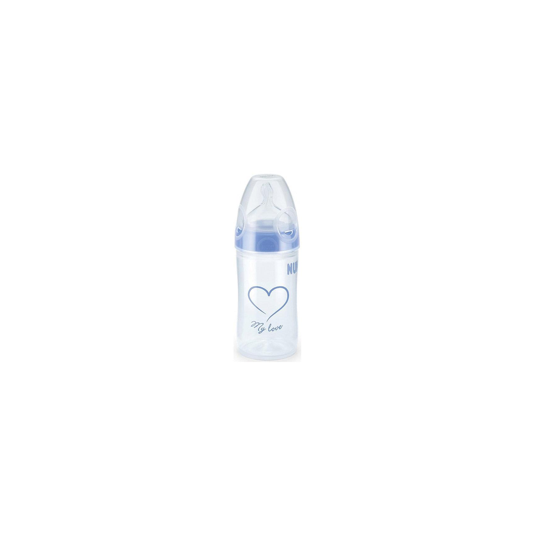 Бутылочка First Choice New Classic с широким горлом, 150 мл., NUK, голубой110 - 180 мл.<br>Характеристики изделия:<br><br>- объем: 150 мл;<br>- цвет: голубой;<br>- материал: латекс, полипропилен;<br>- широкое горло;<br>- система Anti-Colic Air System;<br>- для смешанного вскармливания;<br>- возраст: 0-6 месяцев.<br><br>Детские товары существенно облегчают жизнь молодым мамам. Существует множество полезных в период материнства вещей. К таким относится обыкновенная пластиковая бутылочка-поильник. <br>Данная модель оптимально подходит для детей, которых приучают есть самостоятельно. Мягкий материал соски подойдет для ротовой полости ребенка. Предмет удобно держать. Бутылочка легко очищается от любых поверхностных загрязнений, так как имеет удобное широкое горлышко. Оптимальный объем позволит использовать бутылочку для малышей с рождения до шести месяцев.<br><br>Бутылочку First Choice New Classic от производителя NUK можно купить в нашем магазине.<br><br>Ширина мм: 75<br>Глубина мм: 65<br>Высота мм: 245<br>Вес г: 100<br>Возраст от месяцев: 0<br>Возраст до месяцев: 6<br>Пол: Унисекс<br>Возраст: Детский<br>SKU: 5065248
